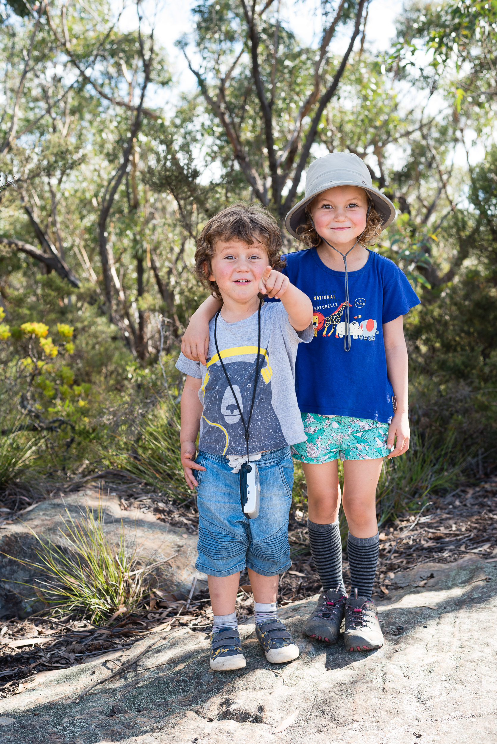 Finn and Holly joking around for a portrait, Narrowneck.