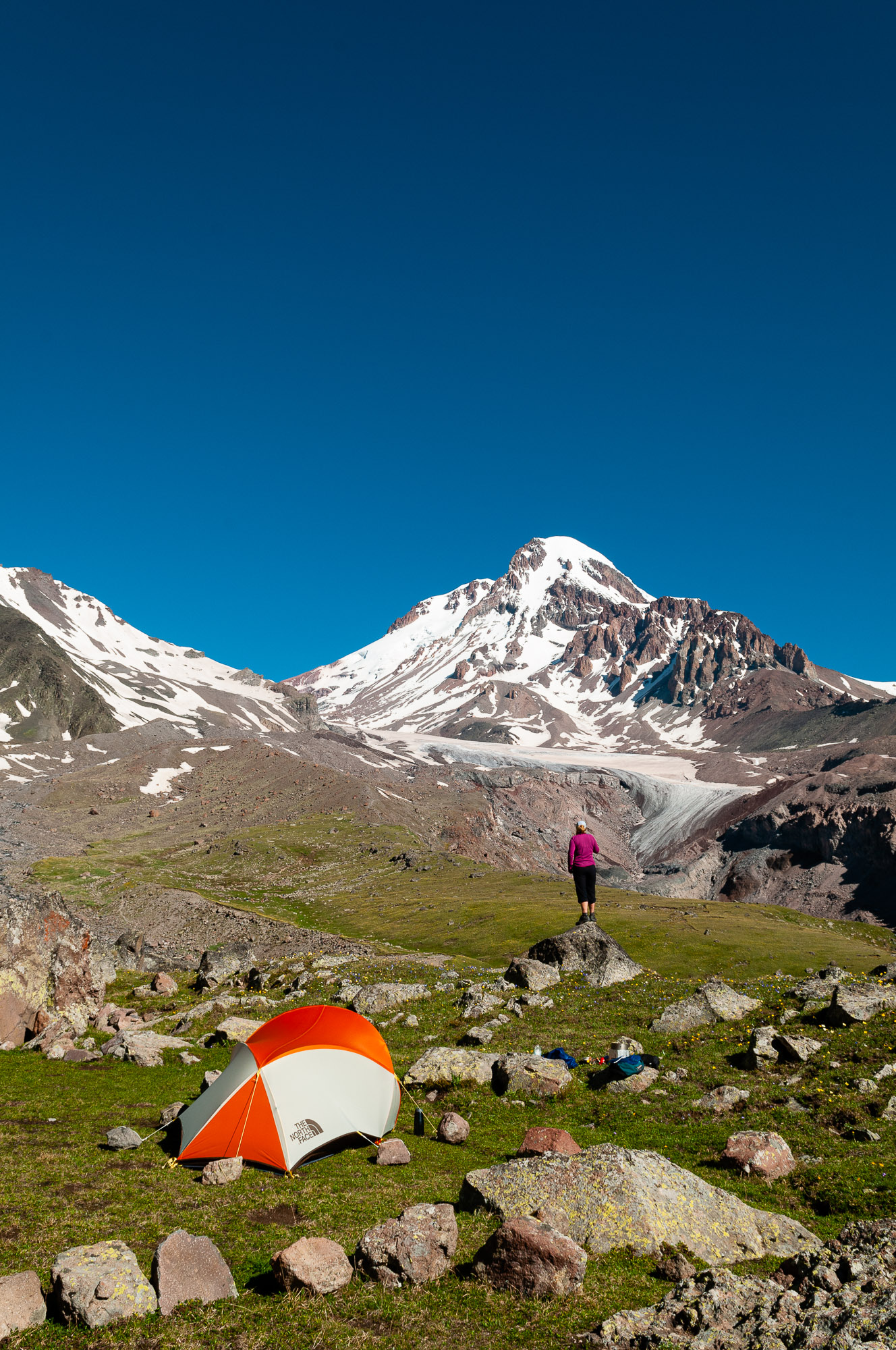 Camping beneath Mt Kazbegi, Georgia. © www.thomaspickard.com