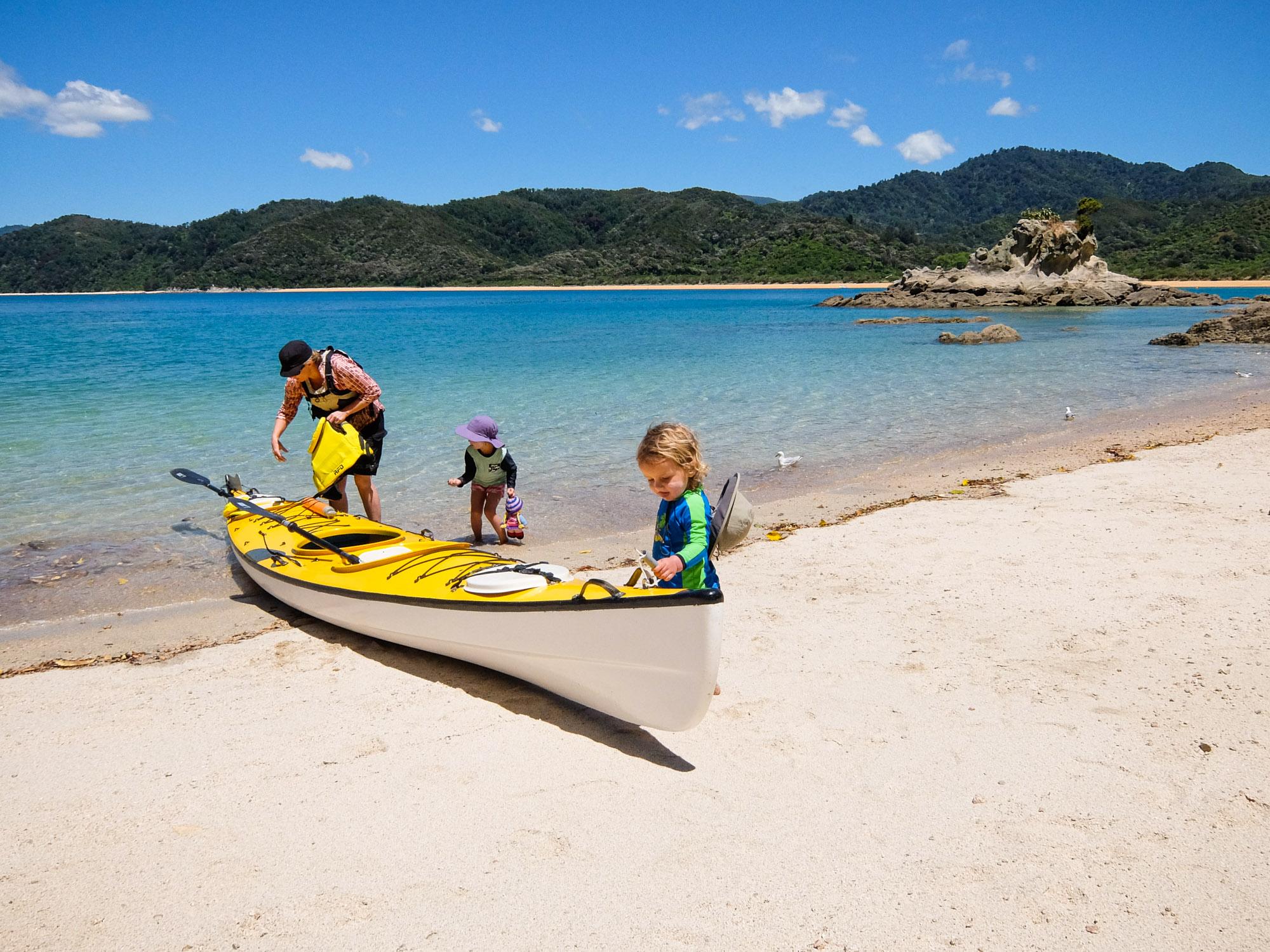The next generation of sea kayakers. Abel Tasman, New Zealand. © www.thomaspickard.com