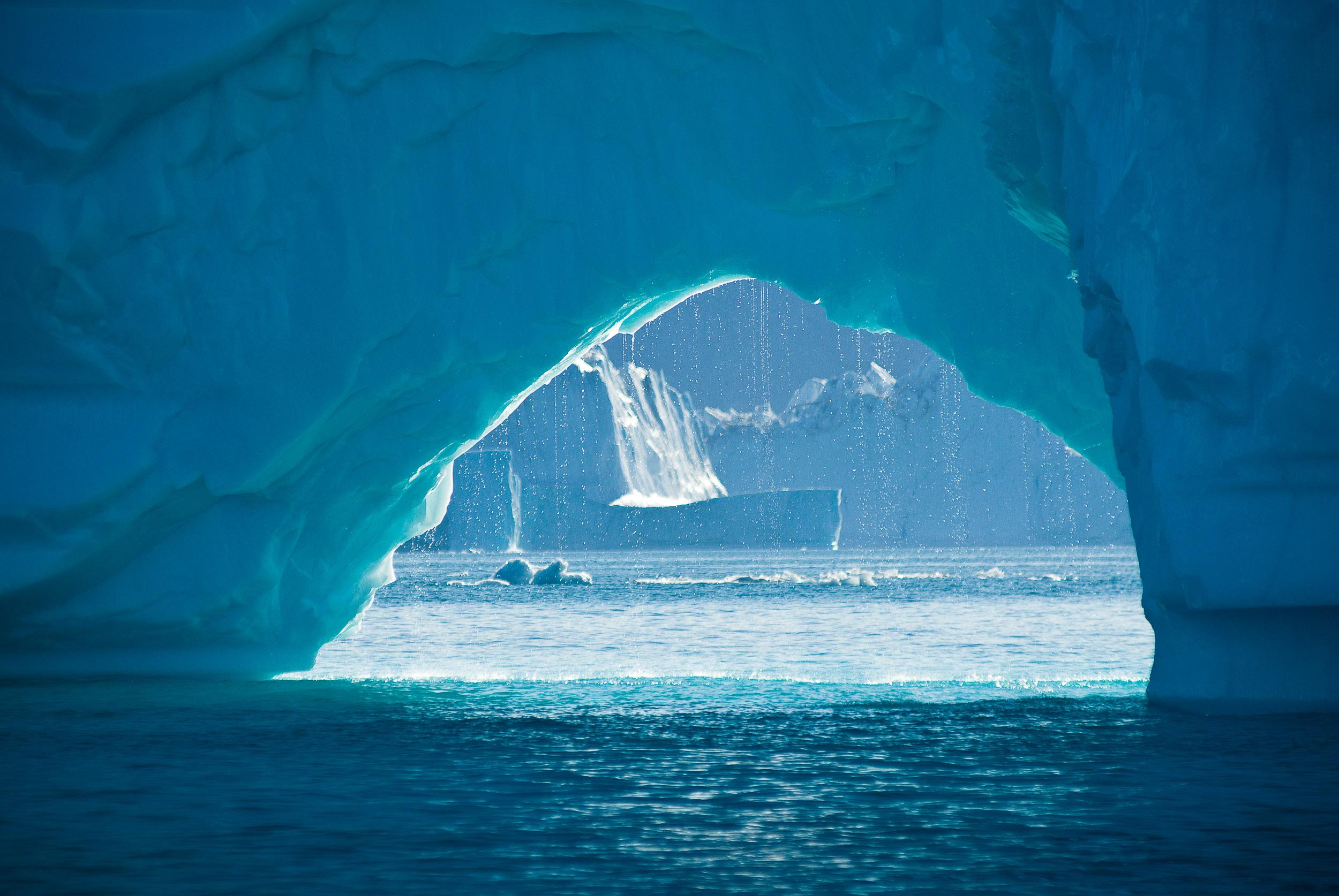 View of an iceberg arch, Hall Bredning, Renland (Tugtut Nunat), Greenland.