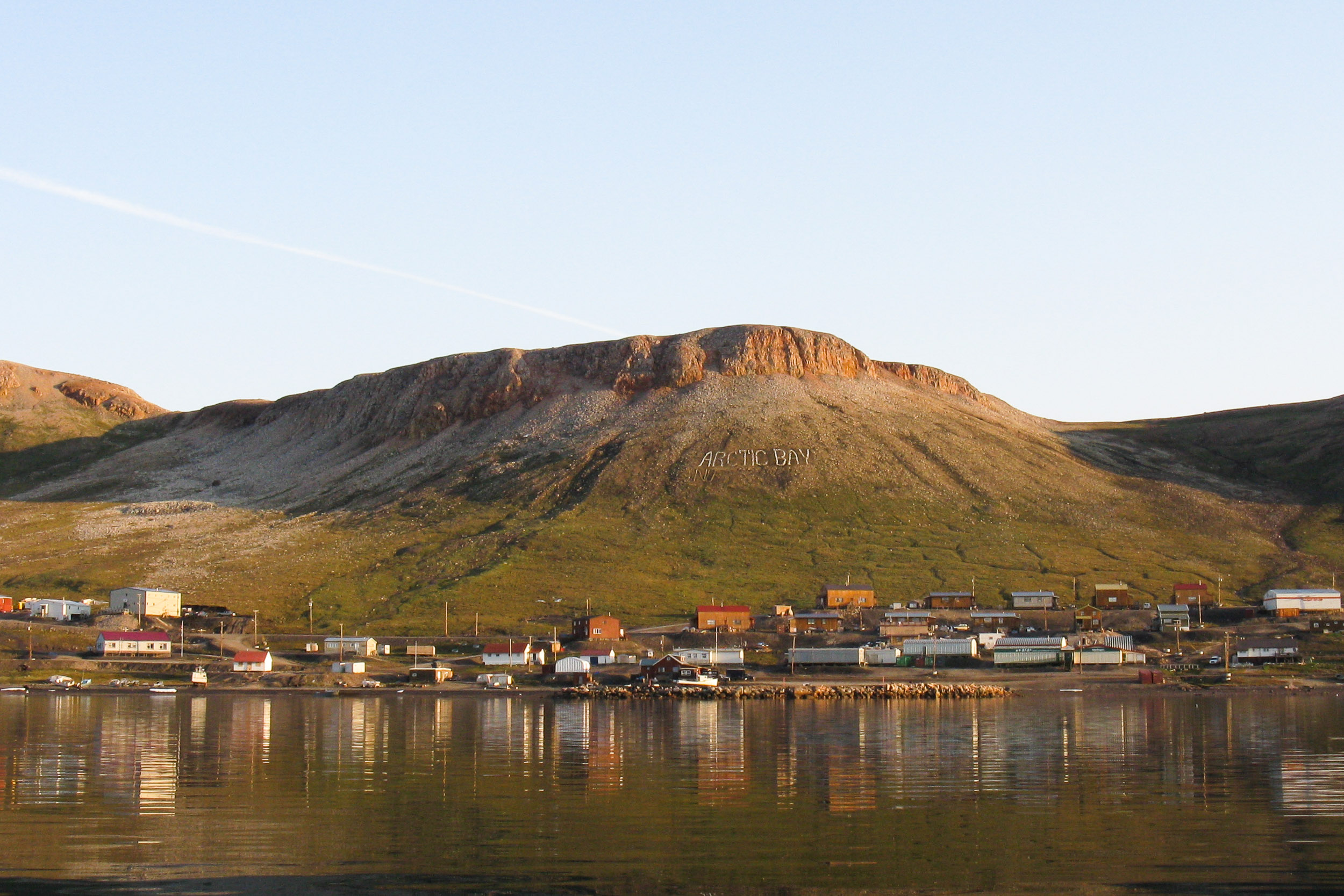 Evening view of Arctic Bay settlement, Borden Peninsula, District of Franklin, Canada.