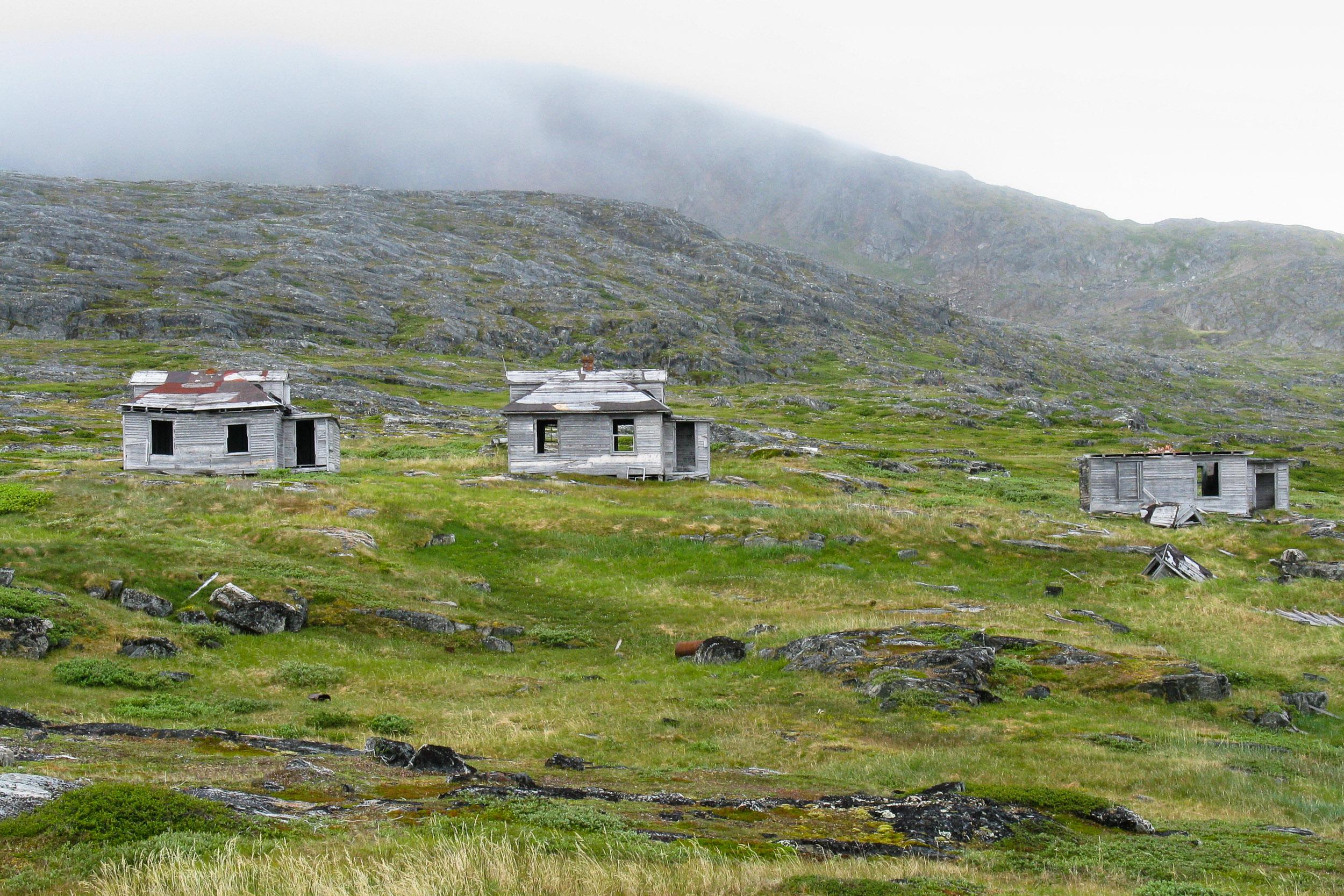 Derelict wooden huts, Hopedale, Hebron, Newfoundland, Canada.
