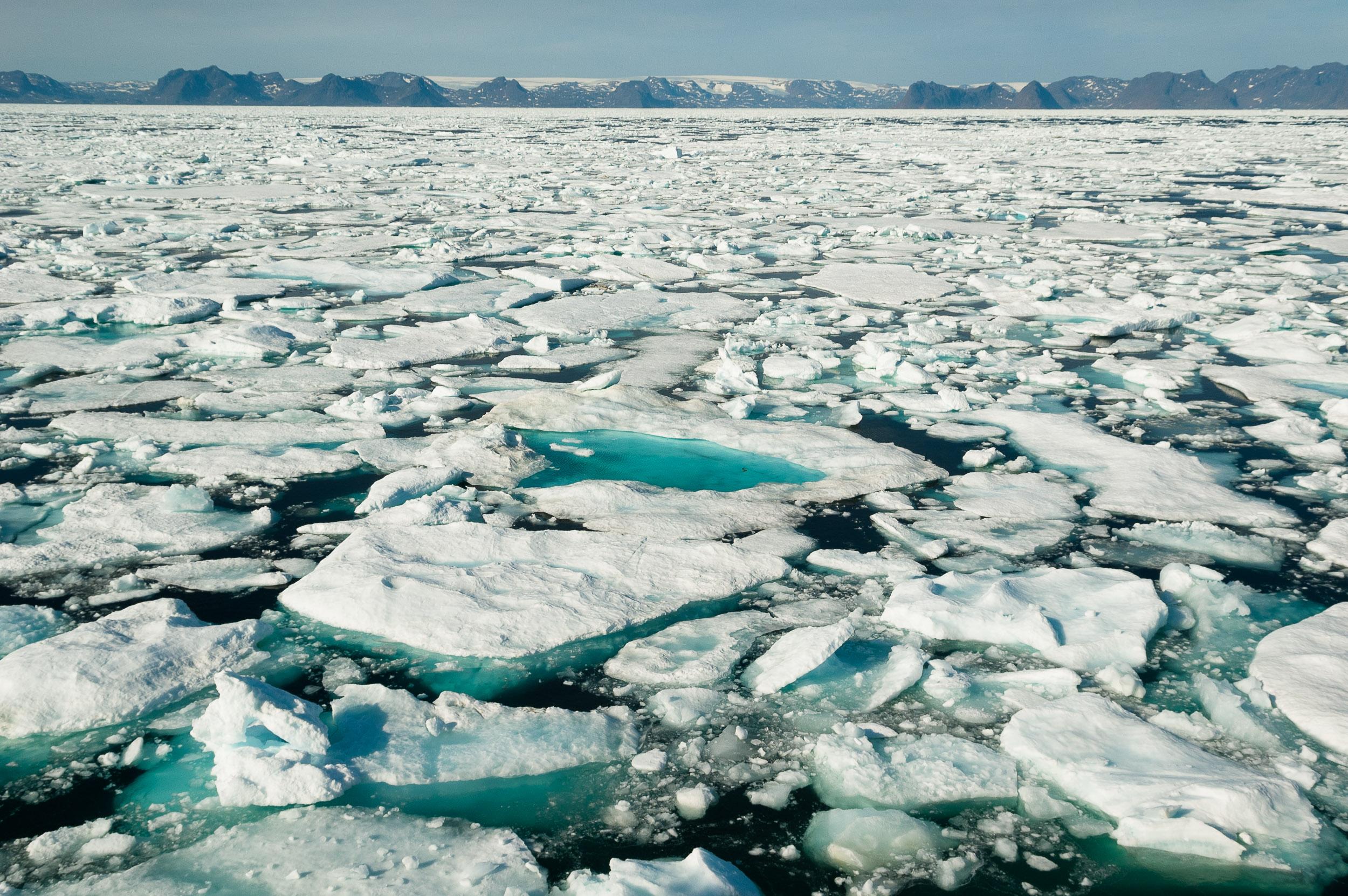 Heavy pack ice near Baffin Island, Canada.