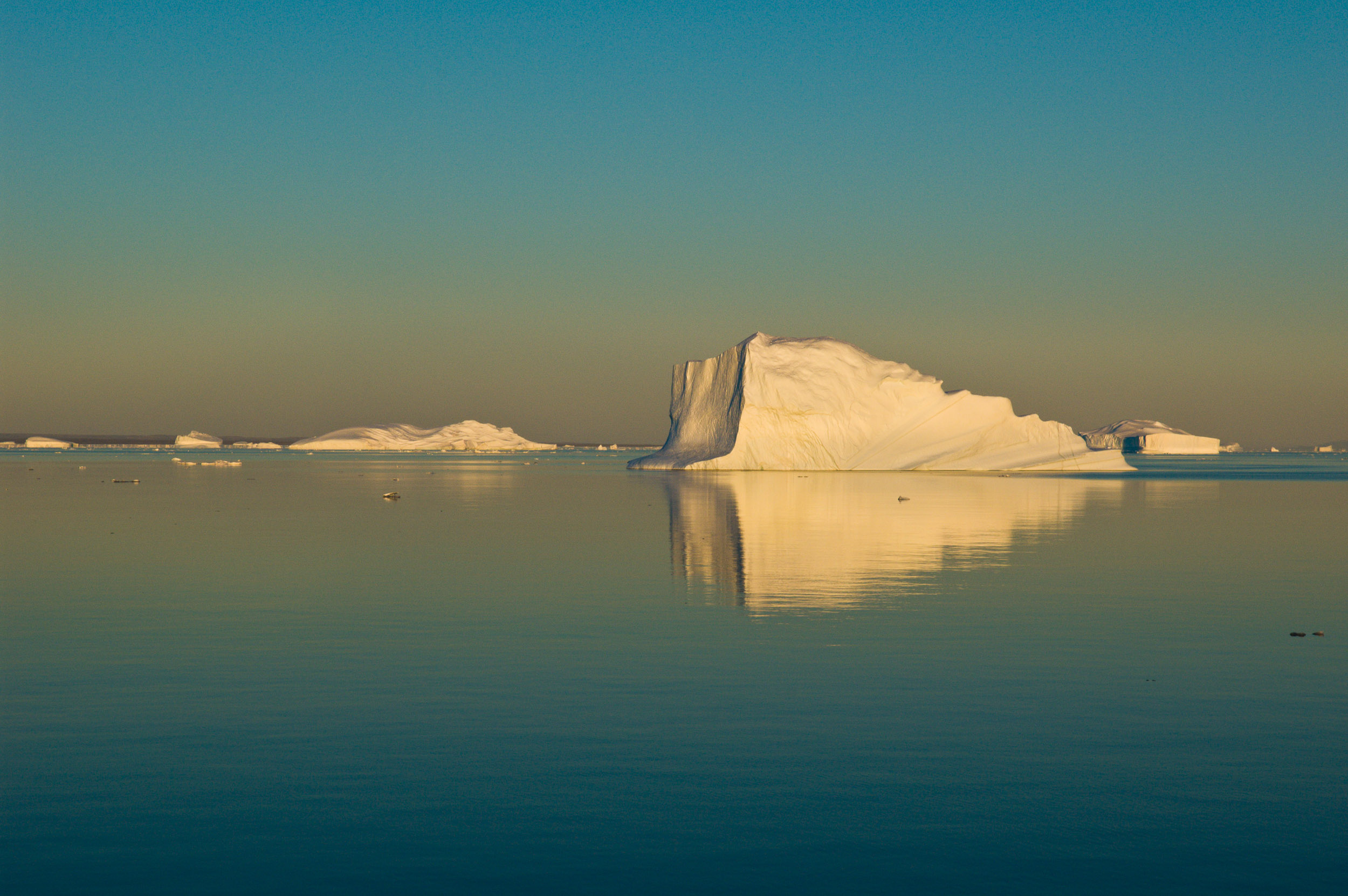 Icebergs, Hall Bredning, Greenland. Hall Bredning on the east coast of Greenland is the largest fjord complex in the world.