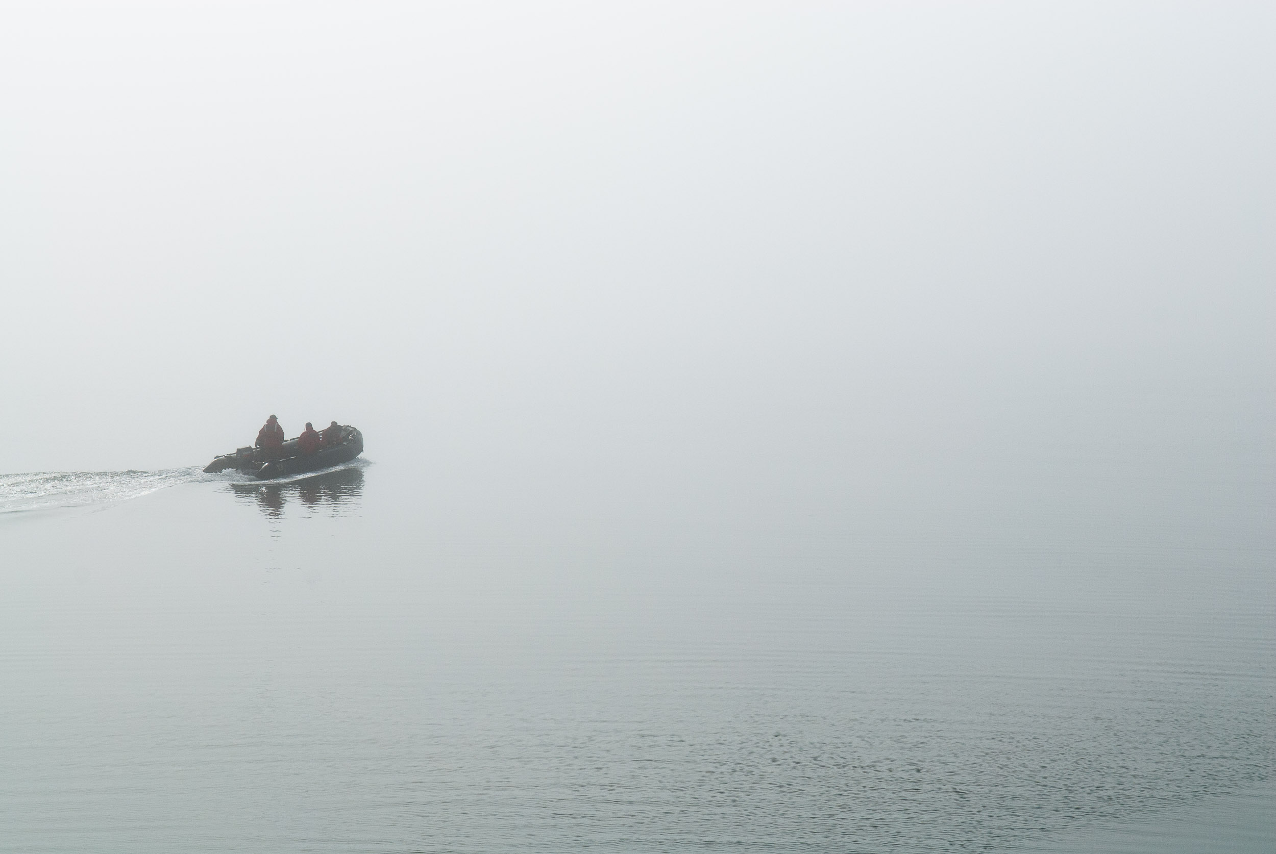 Polar guide driving an inflatable motorized boat, known as a zodiac, in foggy conditions near Diskobukta, Edgeoya, Spitsbergen/Svalbard, Norway.