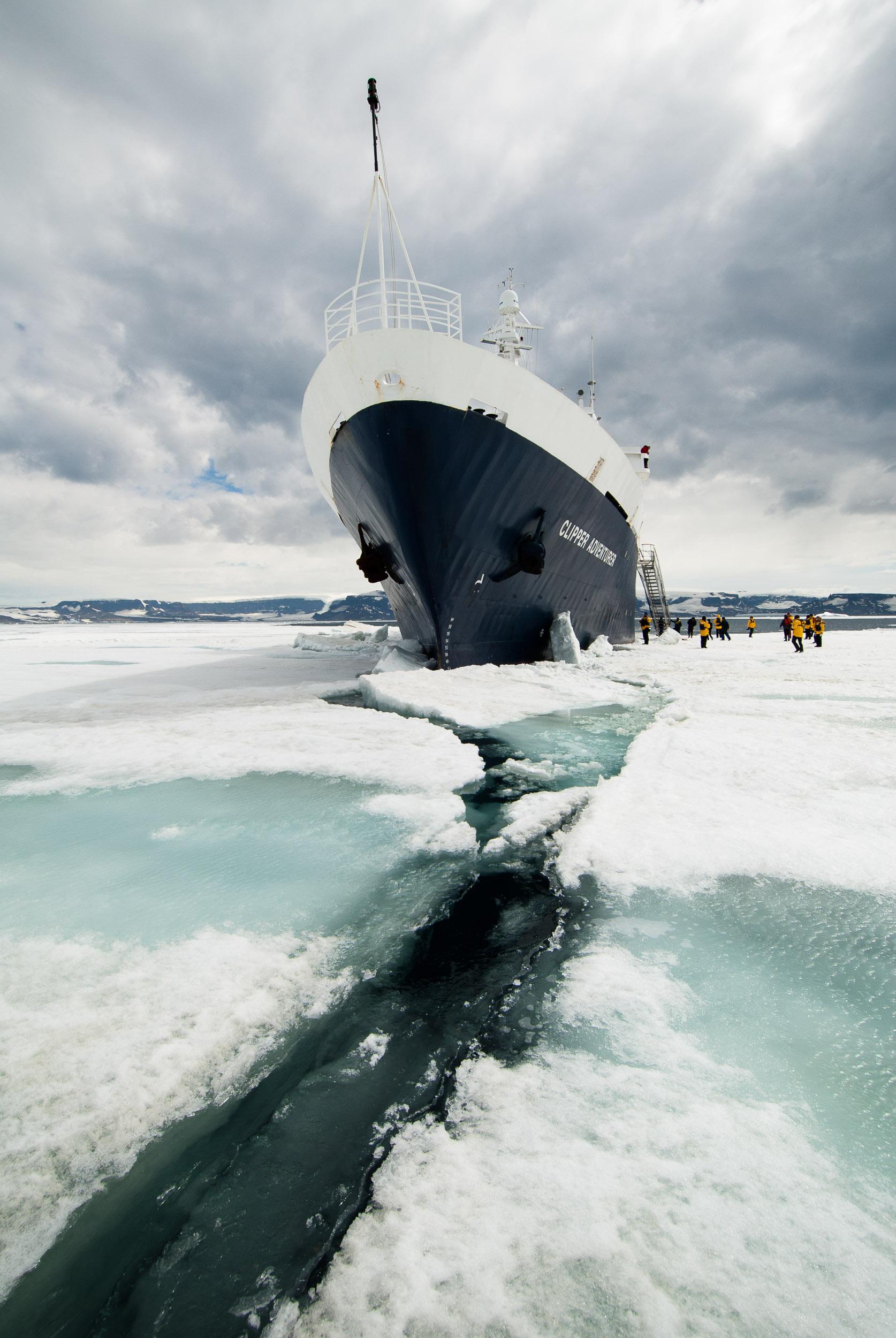 The polar cruise ship the  Clipper Adventurer  in pack ice, Snow Hill Island, Weddell Sea, Antarctica.