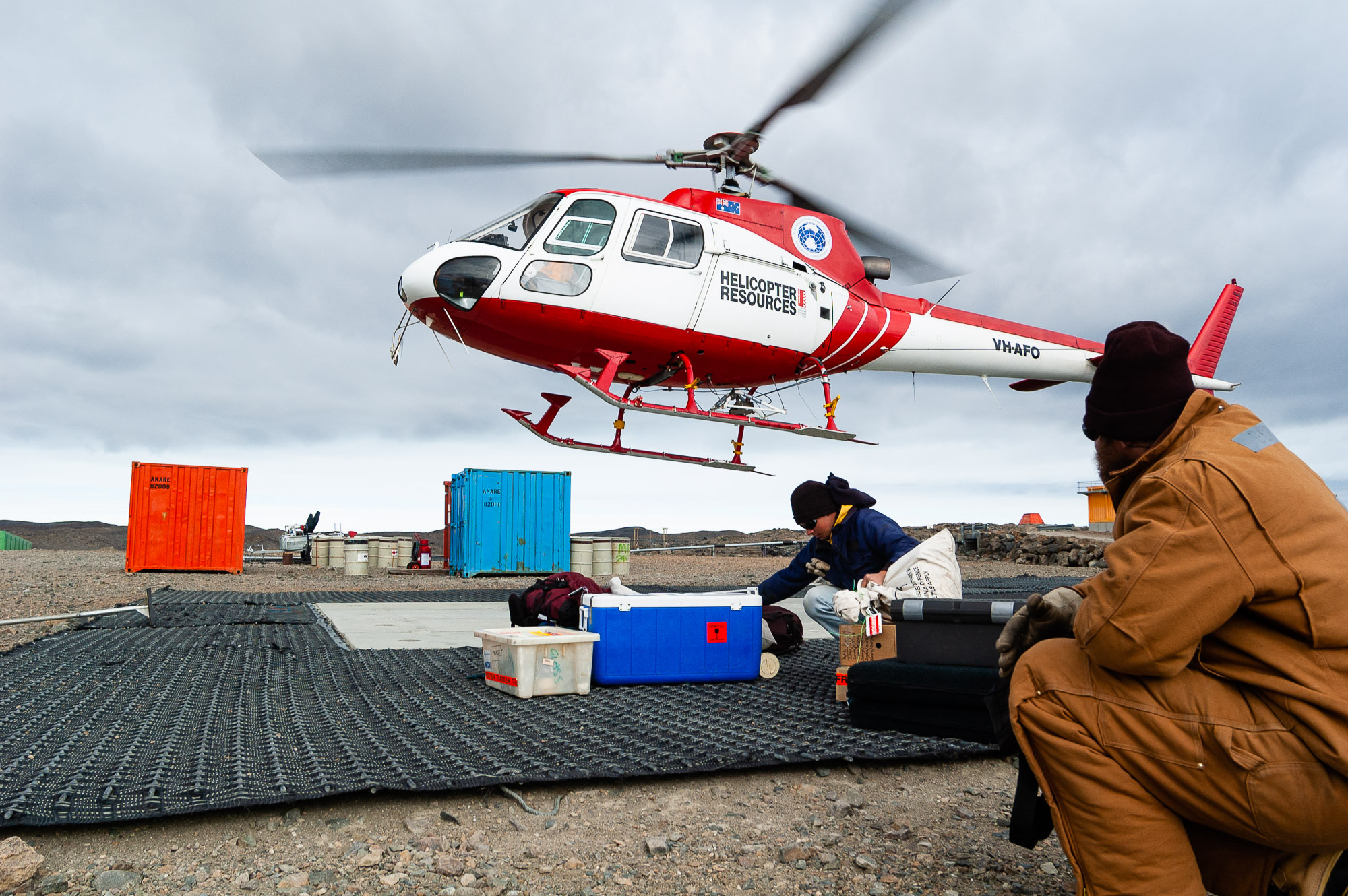 Helicopter operations, Antarctica.