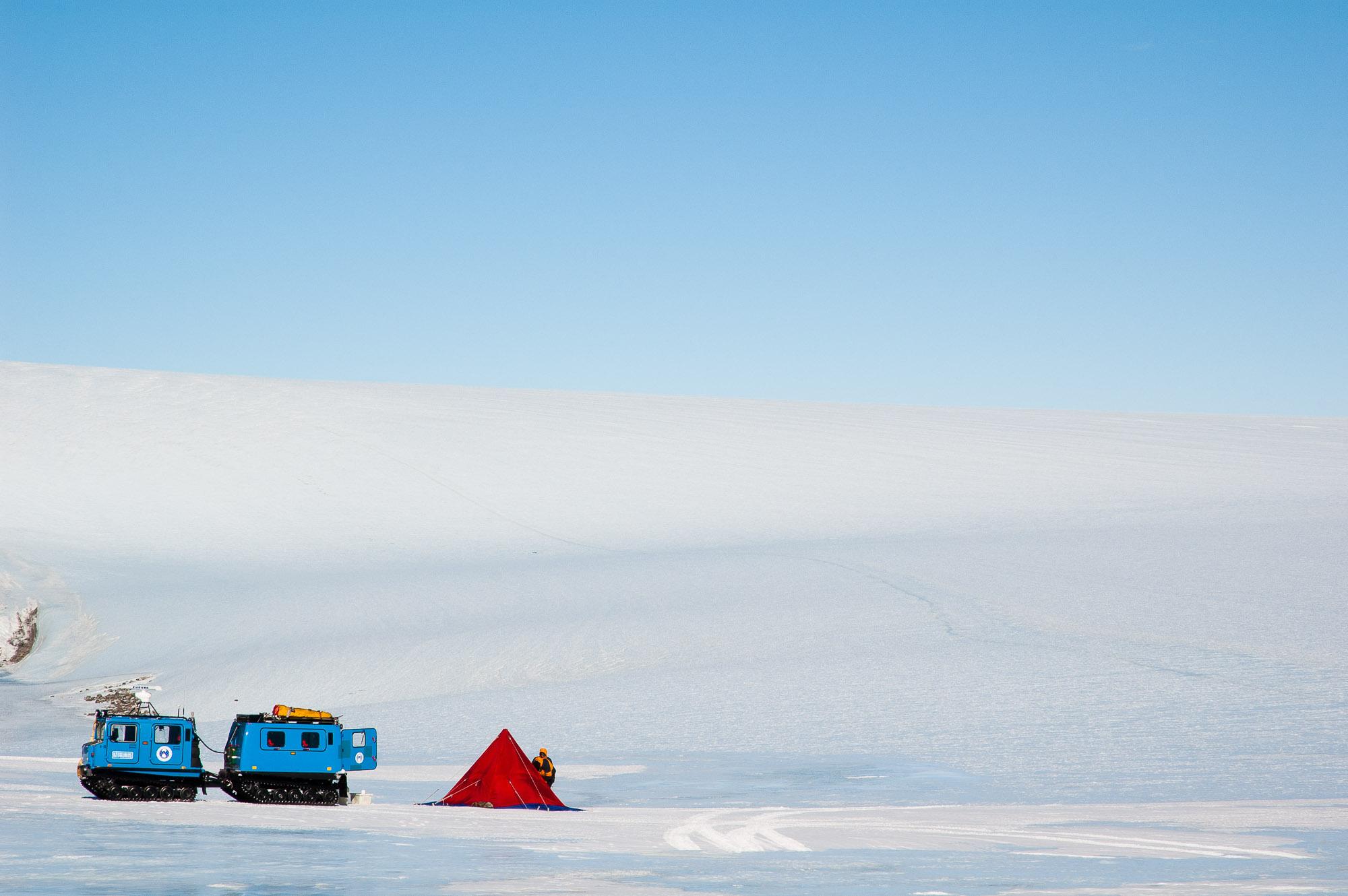 Polar pyramid tent at camp site below Mt Burnett, South Masson Range, Framnes Mountains, Mac Robertson Land, Antarctica.