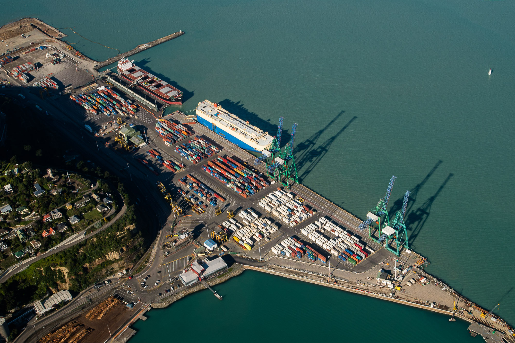 Lyttelton Port of Christchurch aerial, New Zealand. © www.thomaspickard.com No use without written permission from photographer.