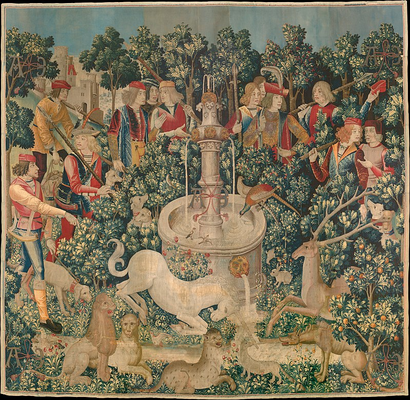 The Hunt of the Unicorn Tapestry, dyed with weld (yellow) madder (red) and woad (blue)