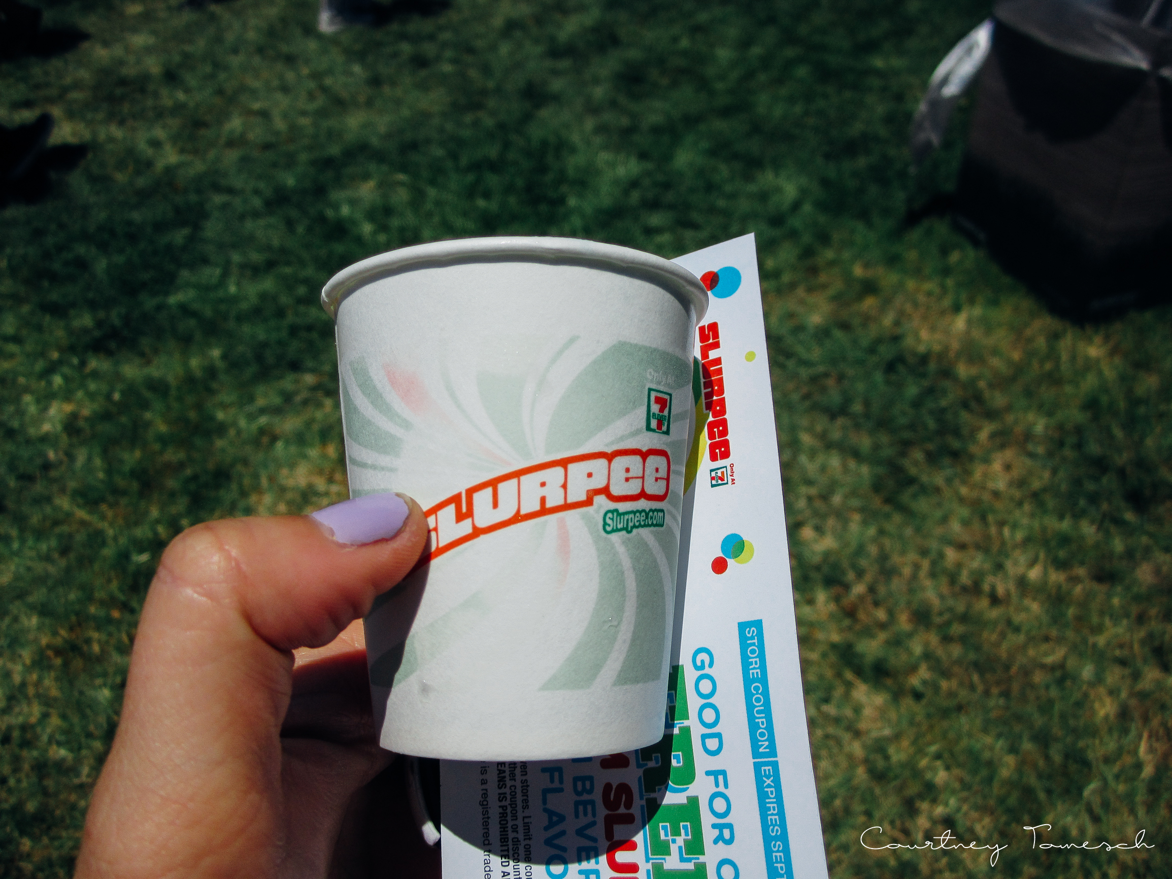 Free Slurpee samples. these were a life saver. it was so hot in Pomona!
