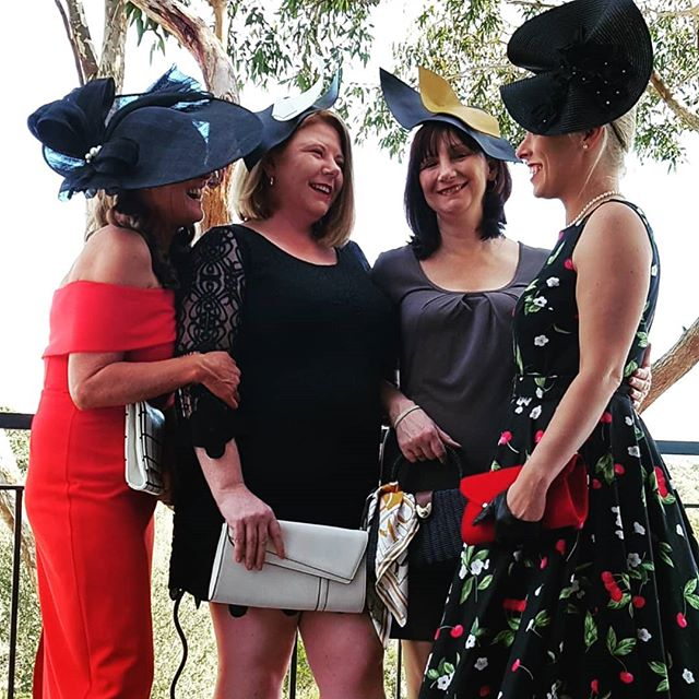 Gorgeous ladies all dressed up even though the races were cancelled! Lovely day had anyway!  #ladiesracing #racingfashion #handmadehats #melbournemilliner #terileannemillinery