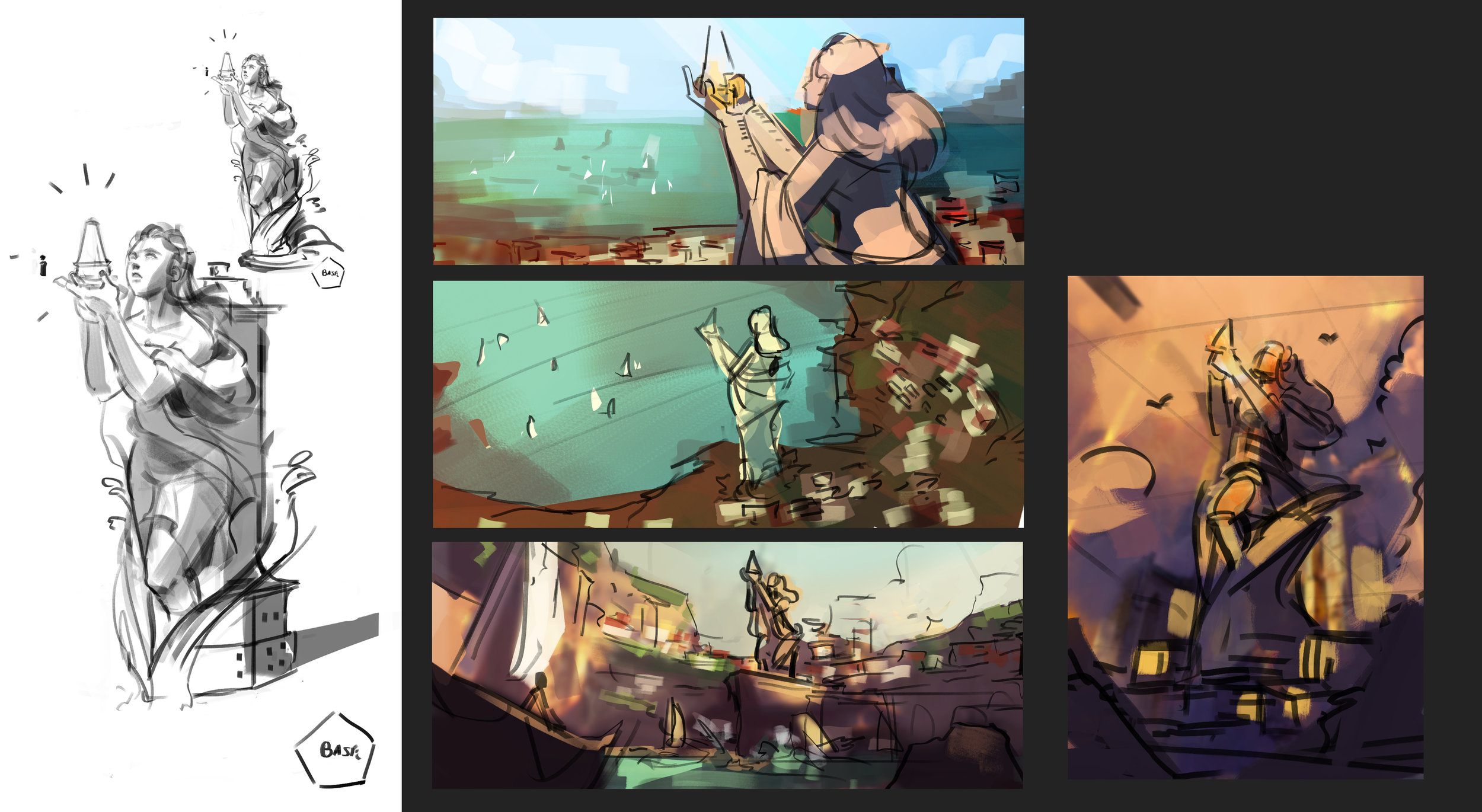 Quick sketches for composition and colour
