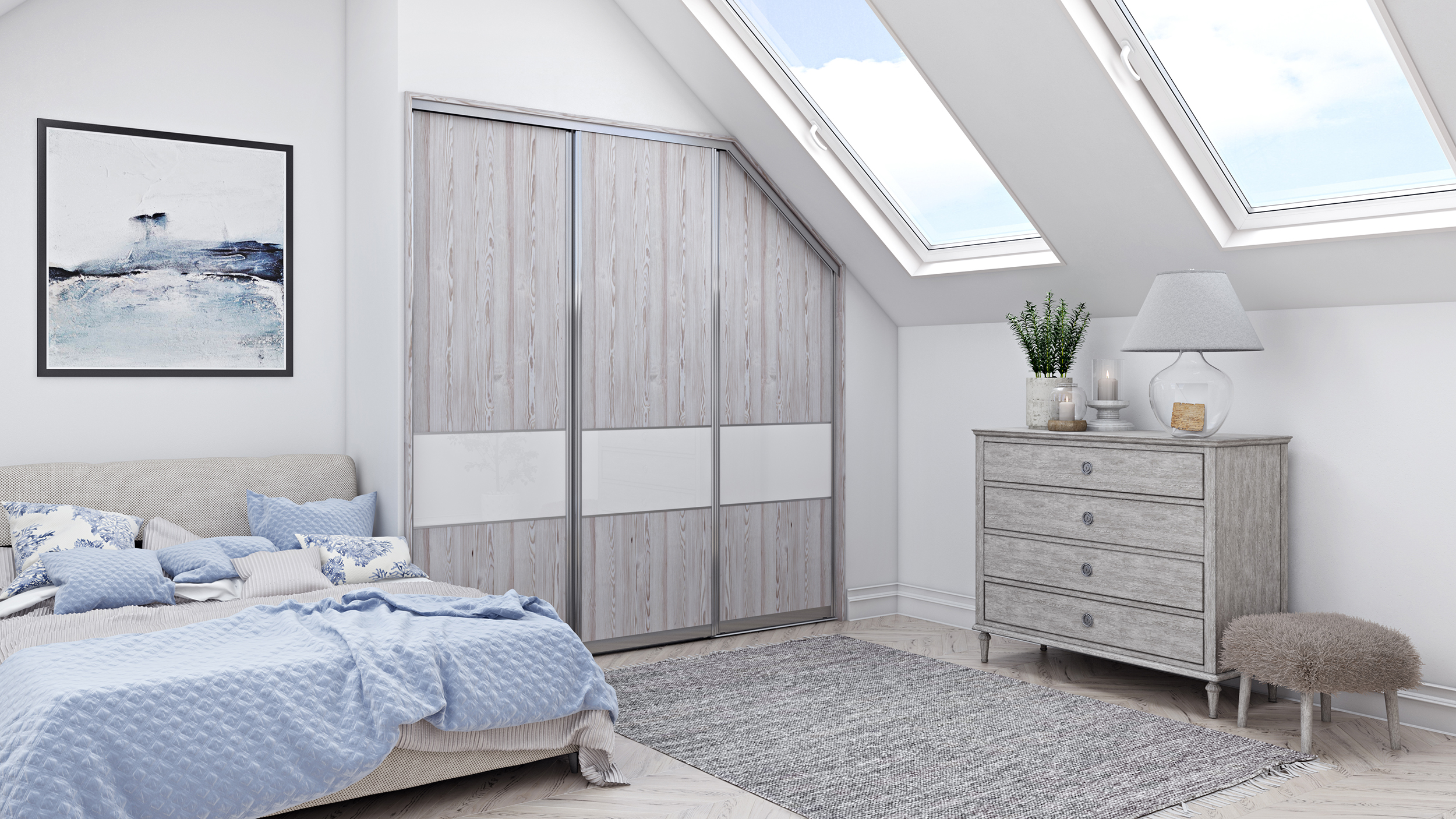 Resized Veneto White 202 - White Mountain Larch doors with Pure White Glass feature panels and Napoli Silver frame.jpg