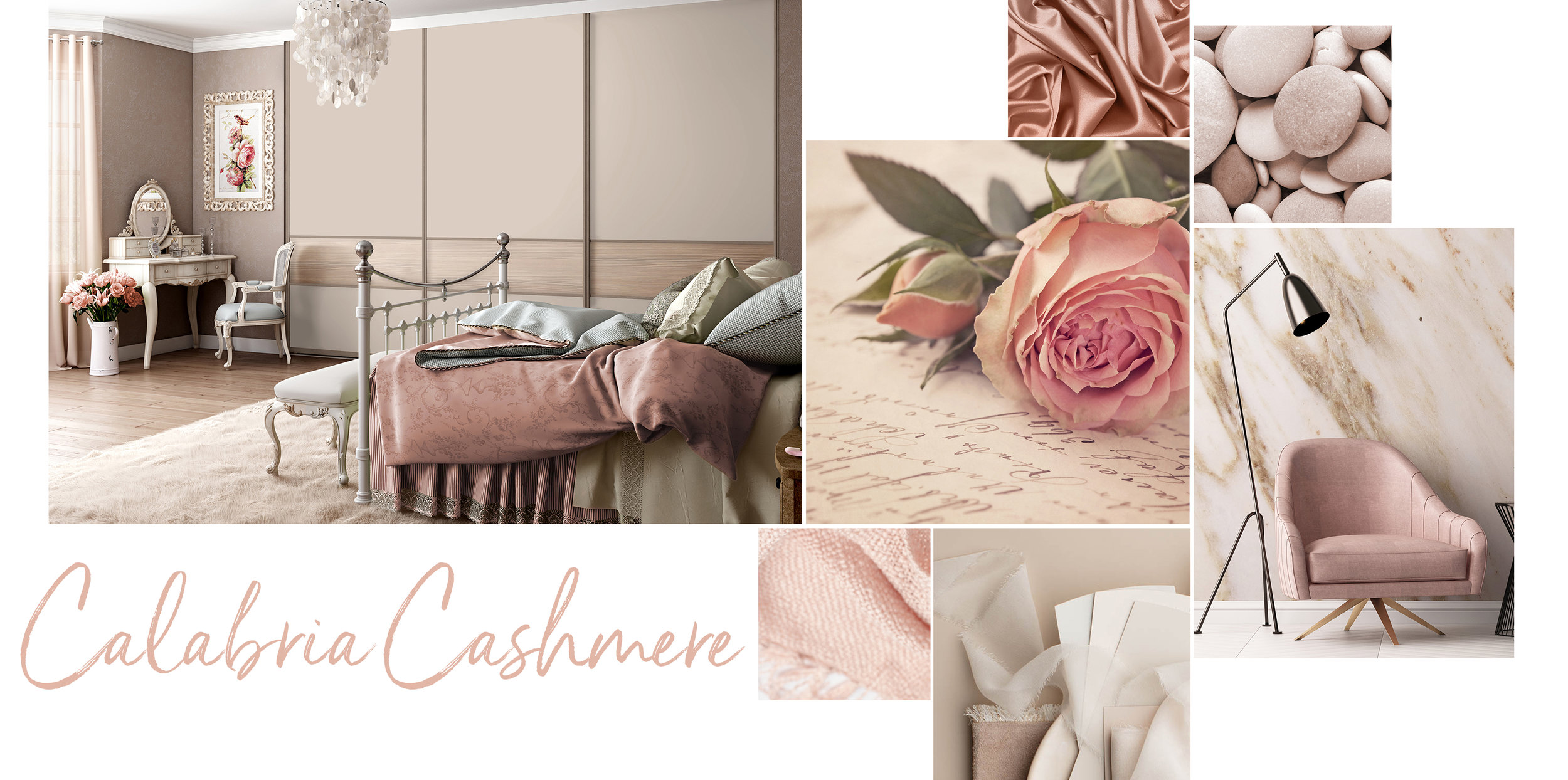 'Calabria Cashmere' is the most feminine of all our palettes. This unmistakable collection of Parisian chic colours ranges from dusky pinks and taupe shades, mixed with subtle woodgrains to offer a truly romantic feel for any bedroom interior.