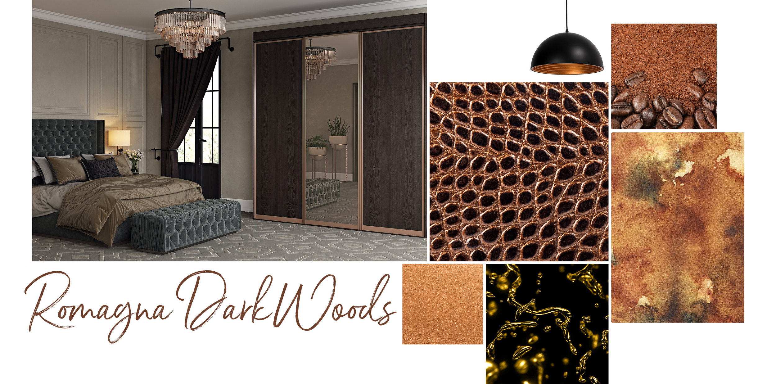 'Romagna Dark Woods' evokes opulence, where luxurious, almost decadent woodgrain finishes combine with subtle metallics and semi precious materials to offer a palette with jewel like qualities.