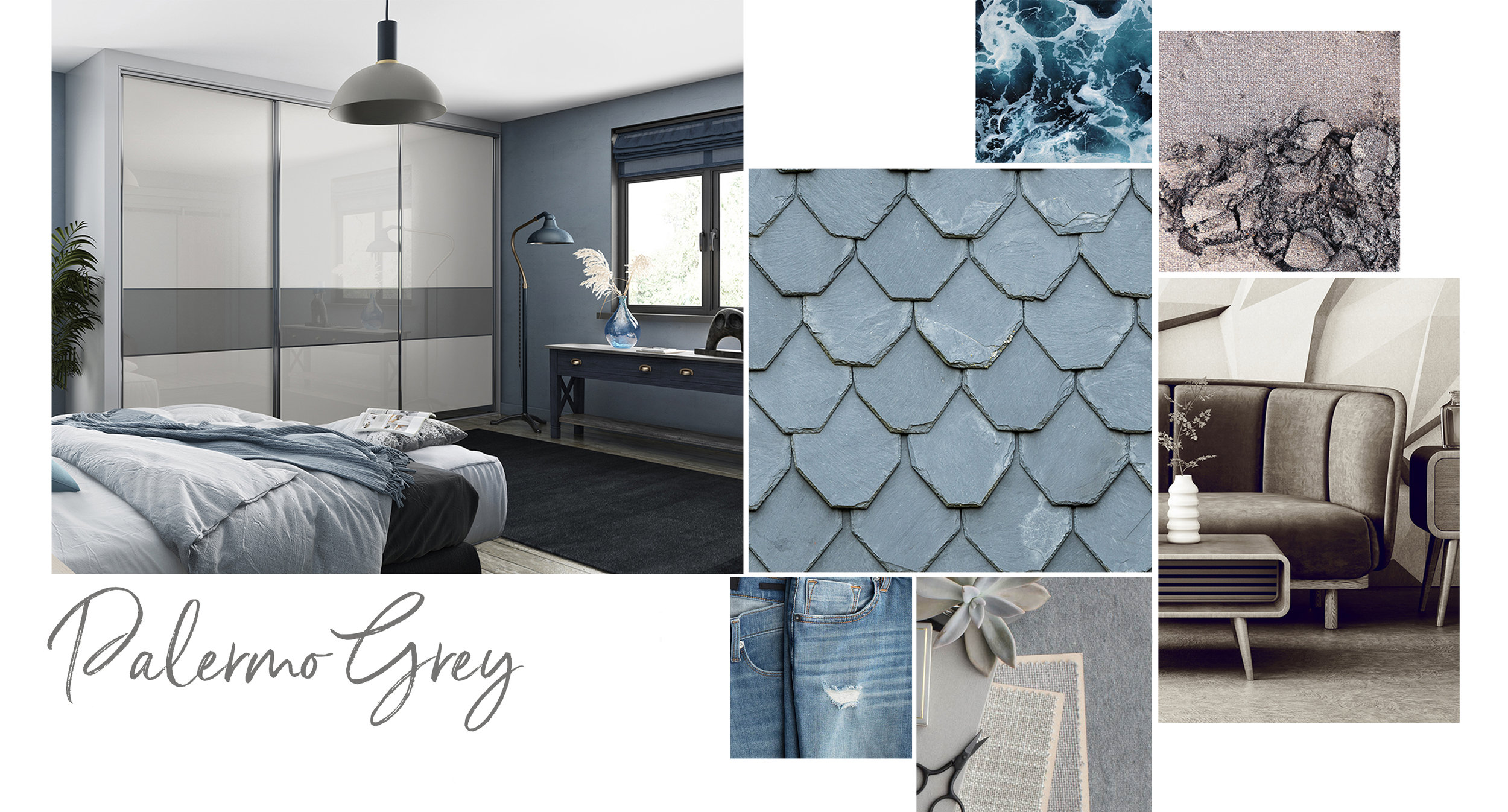 'Palermo Grey' features textured woodgrains, combined with a diverse selection of greys, including Dove, Slate and Graphite, to offer a sophisticated and stylish colour palette, which is both balanced and relaxing.