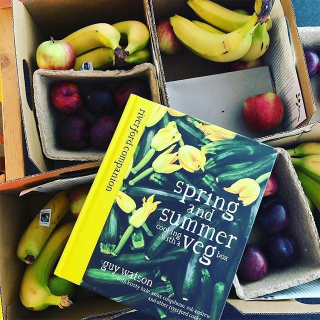 Week two of our delicious deliveries from @riverford and today's came with a present!  The team at River voted for the fruit box as a way to brighten our days, and so far we're loving it 🍐 Now, off to read some summery recipes for inspiration!