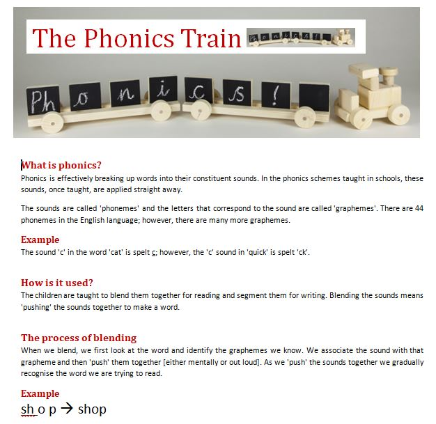 Example phonics resource
