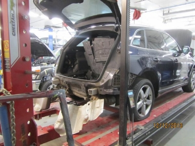 Once the vehicle moved into production we started to disassemble her to see the extent of the damage. Remember you don't know what you don't know. The only way to know is by uncovering all the hidden damage.