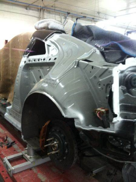 After we pulled the vehicle on the frame machine we removed the left rear quarter panel and got ready to fit the new quarter on the car.