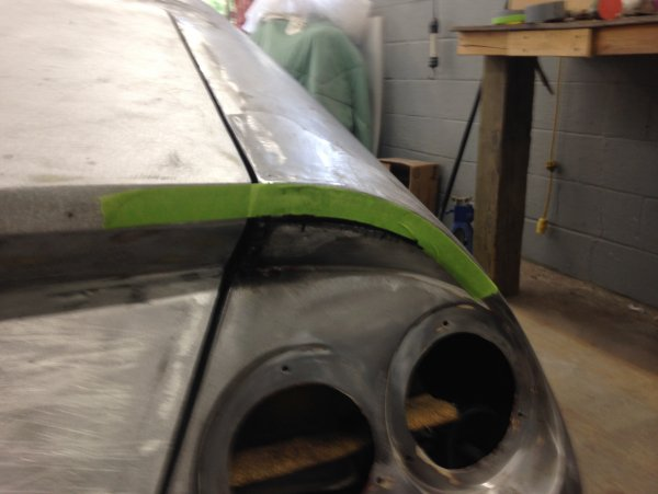 Here is marking out the reveal to cut and weld due to it drooping in the center of arch.