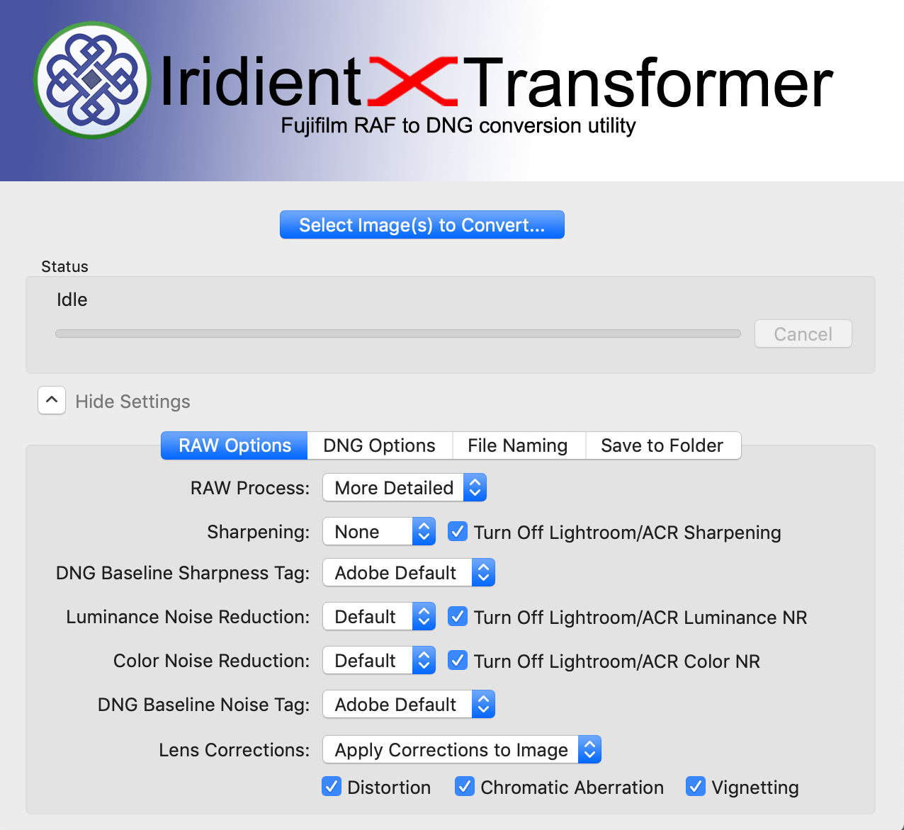 Iridient Transformer settings - screen 1