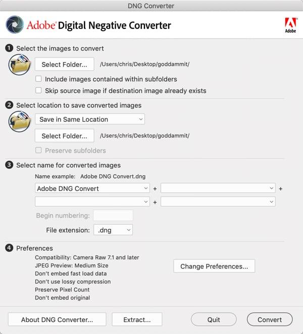 Adobe converter's  default  settings.