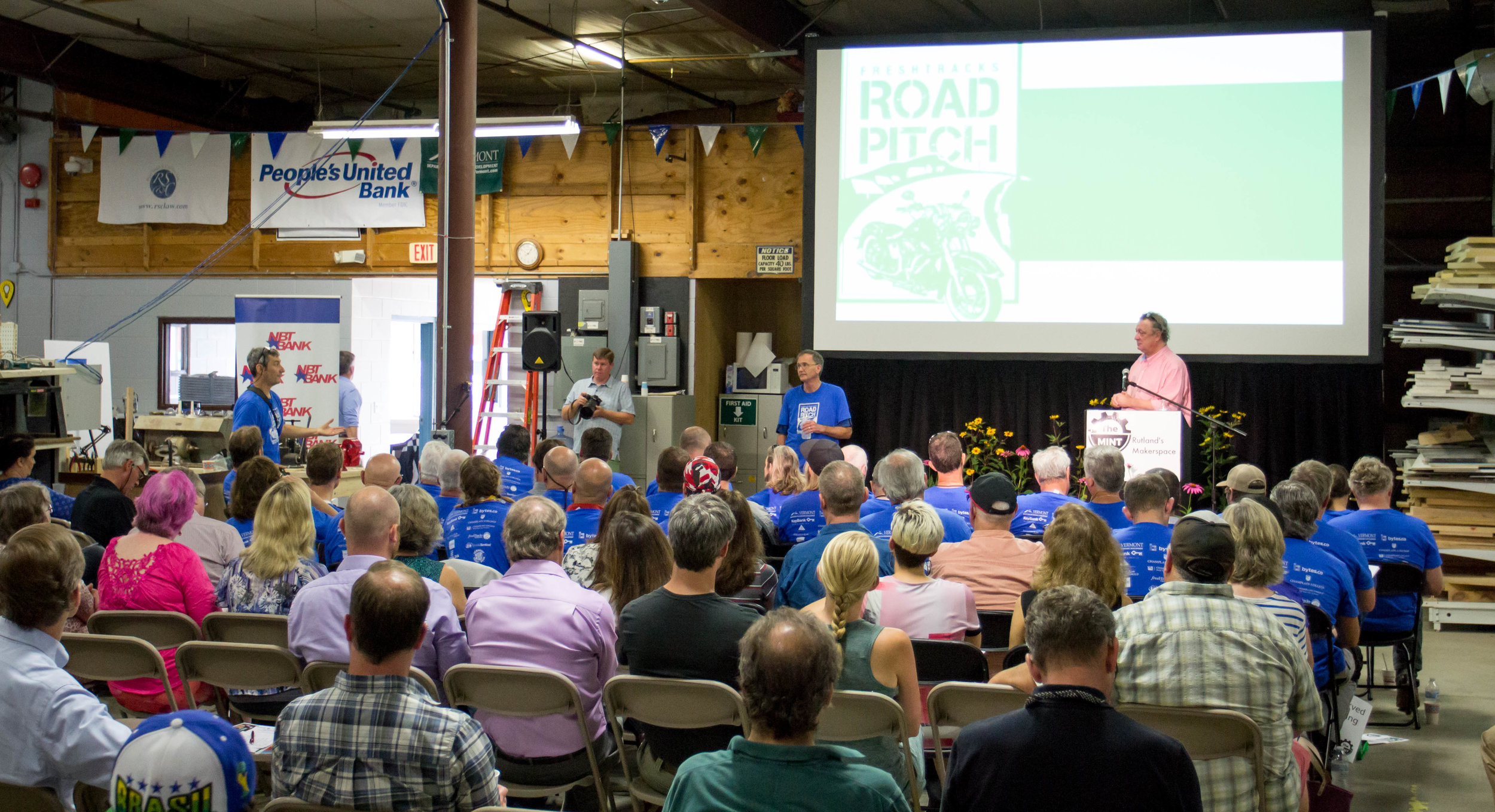 Francois Gossieaux, founder of Local Captures, answers questions from the audience during Road Pitch.