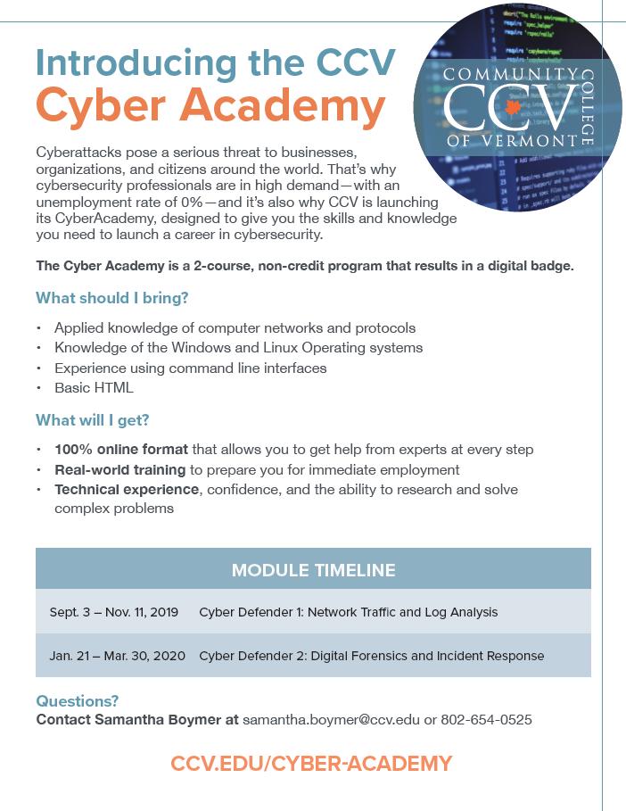 CCV Cyber Academy Rutland Vermont