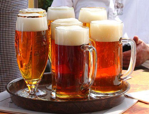Tray of Western barley beers, Germany, 2012. Wikicommons image by Benreis, https://commons.wikimedia.org/wiki/File:Aufse%C3%9F_Bier.JPG