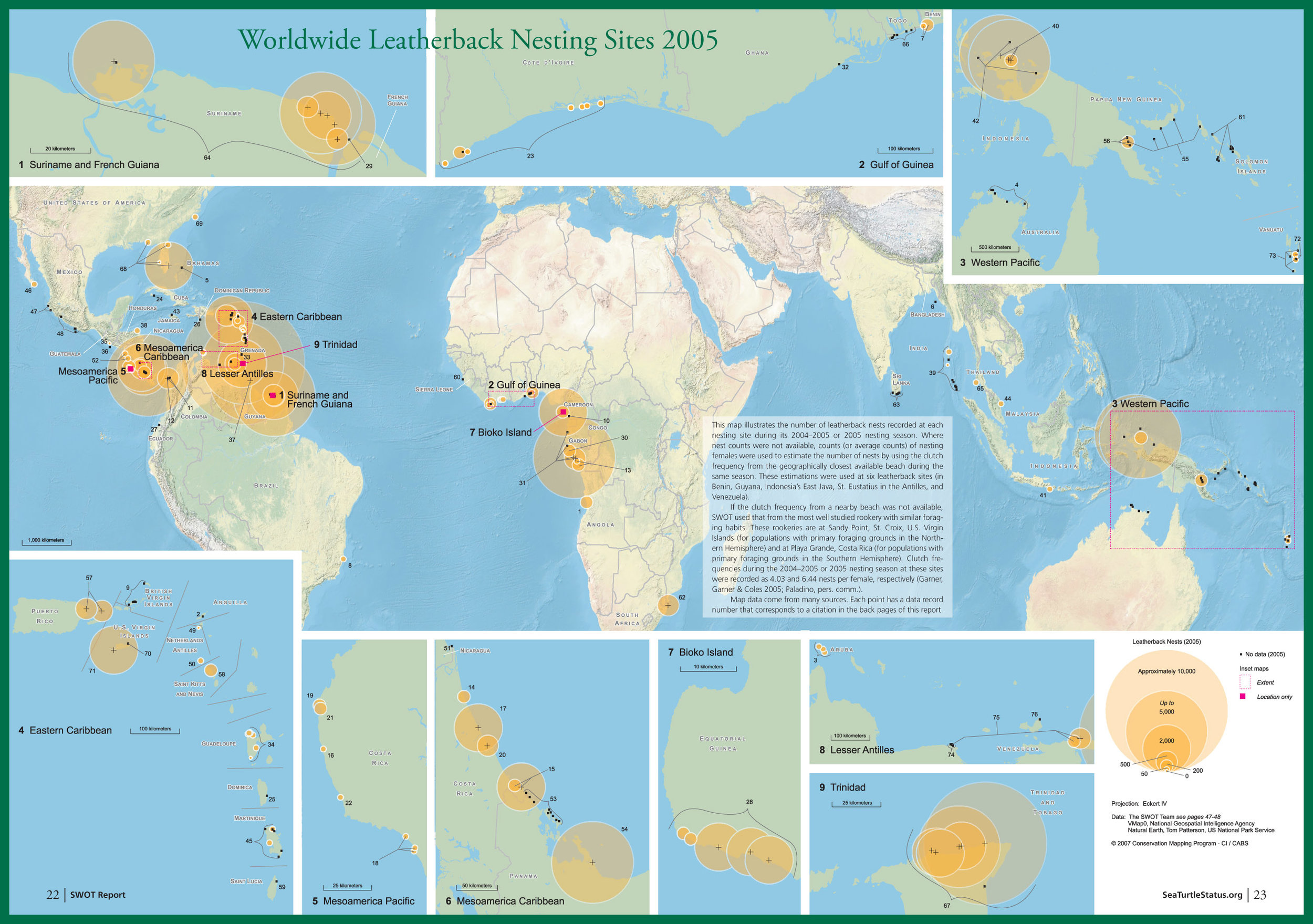 Map of global leatherback nesting sites published in 2007 in SWOT Report, vol. II.