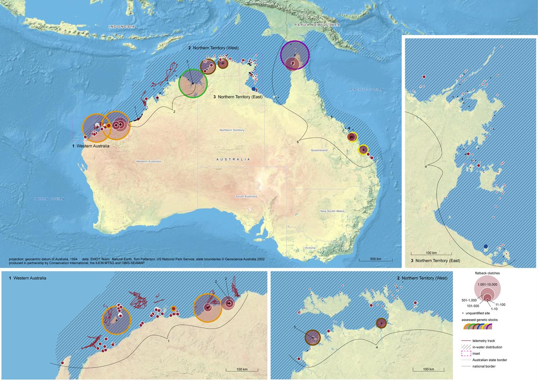 Global Biogeography of the Flatback Turtle. © SWOT