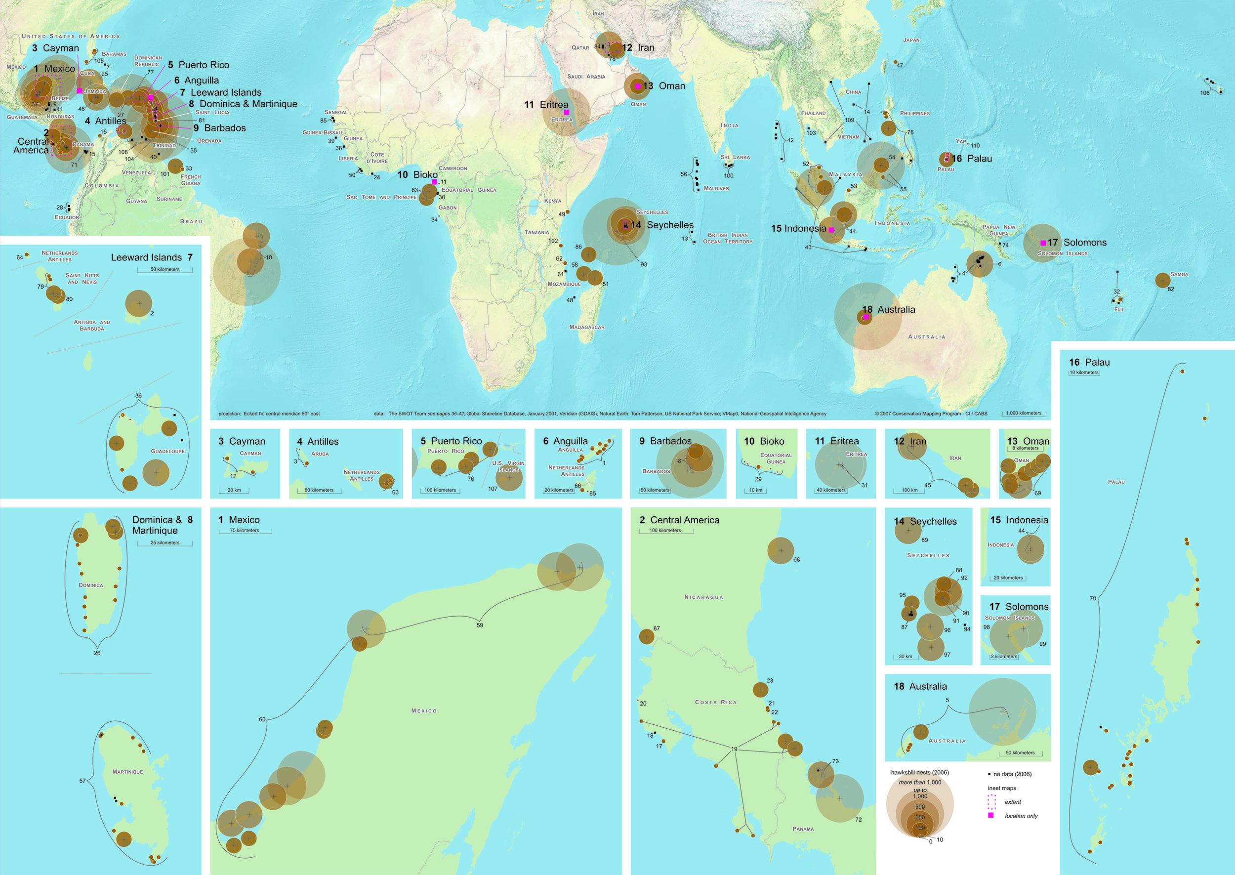 Worldwide Hawksbill Nesting Sites, 2006 ( data citations ) |   SWOT Report , vol. III (2008) .