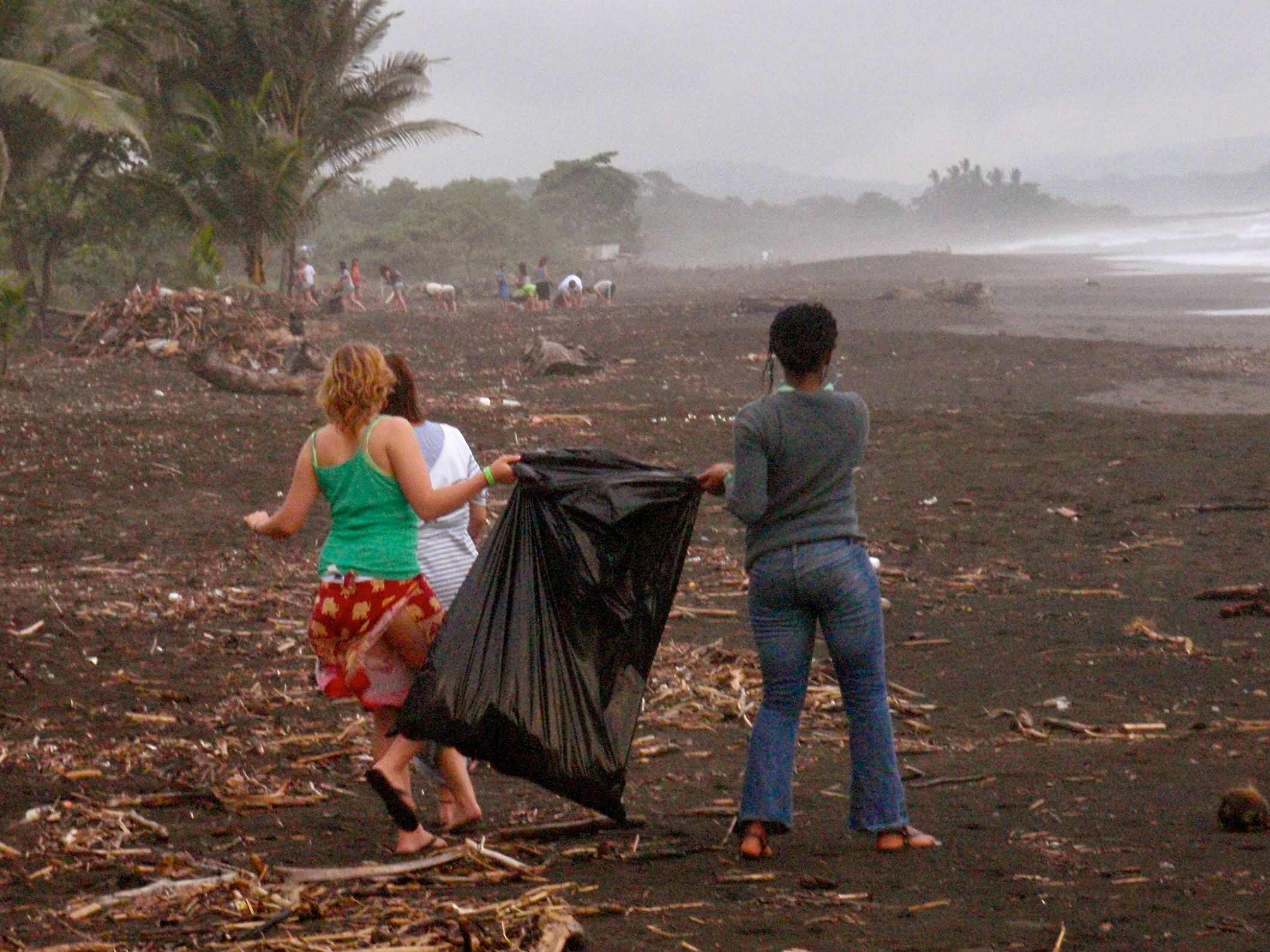 Volunteers collect trash on the beach in Hawaii, U.S.A. © Oceanic Society