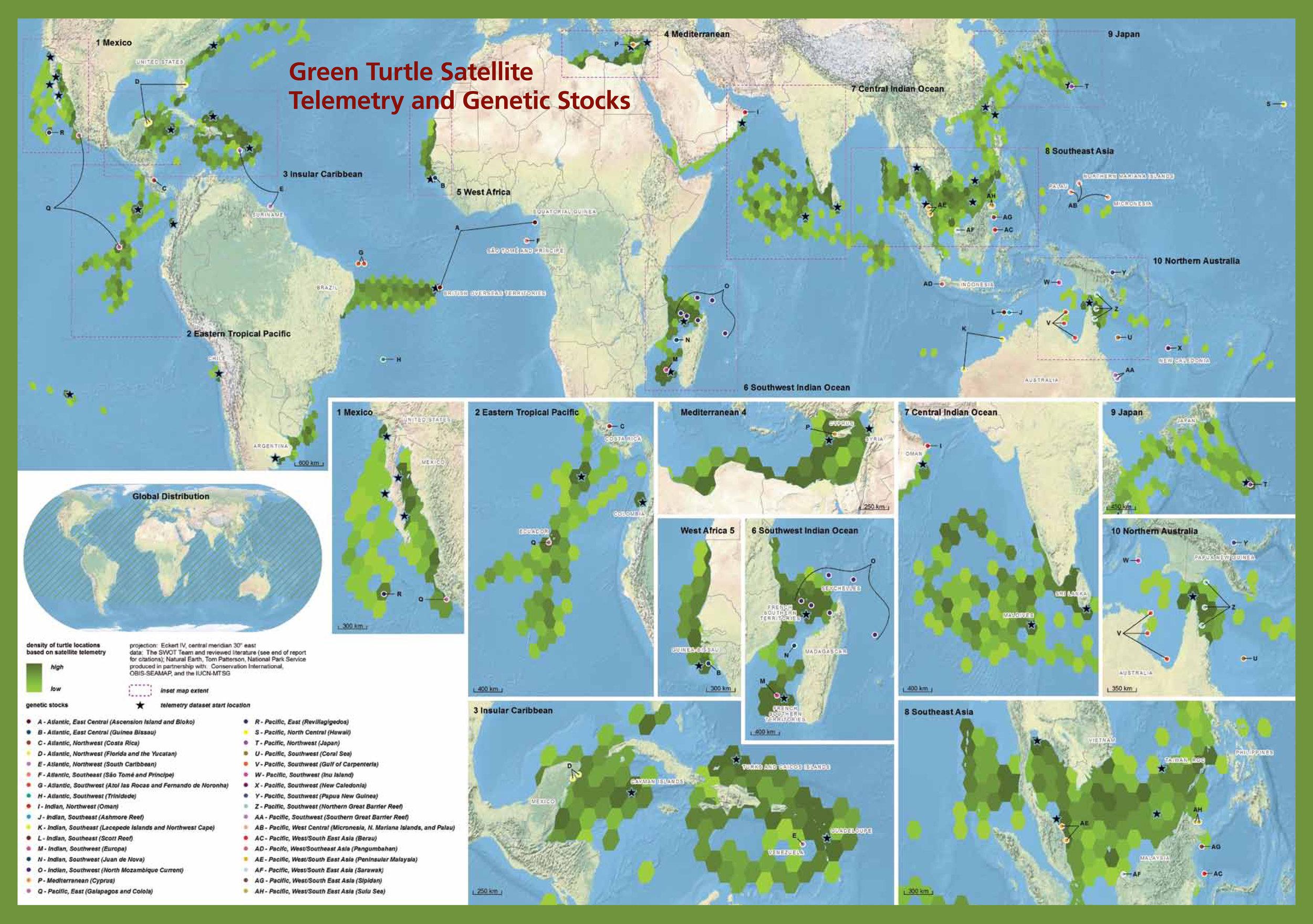 Green Turtle Satellite Telemetry and Genetic Stocks ( data citations ) |   SWOT Report , vol. VI (2011) .
