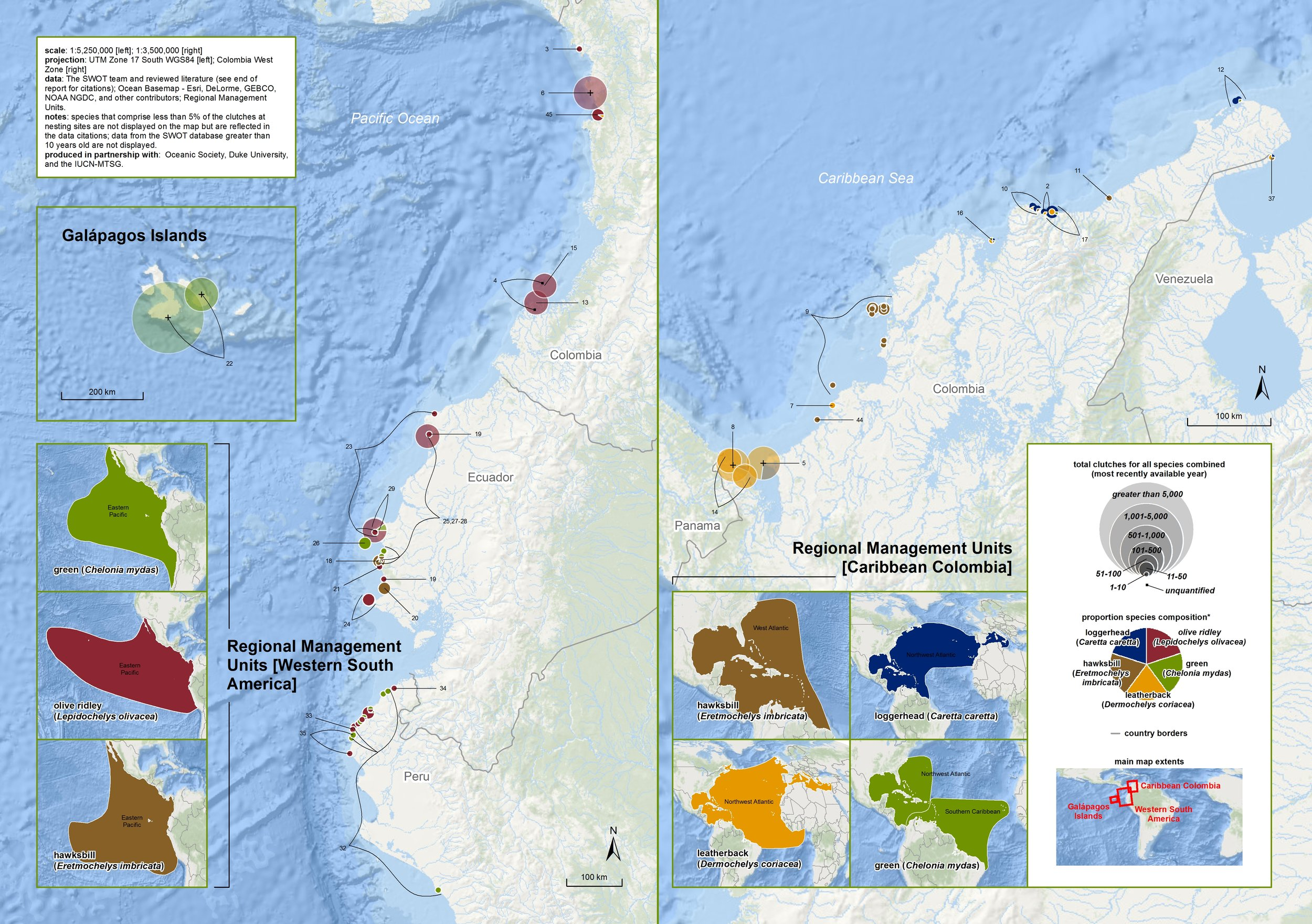 Nesting Biogeography of Sea Turtles in Western South America and Caribbean Colombia ( data citations ) |   SWOT Report , vol. XI (2016) .