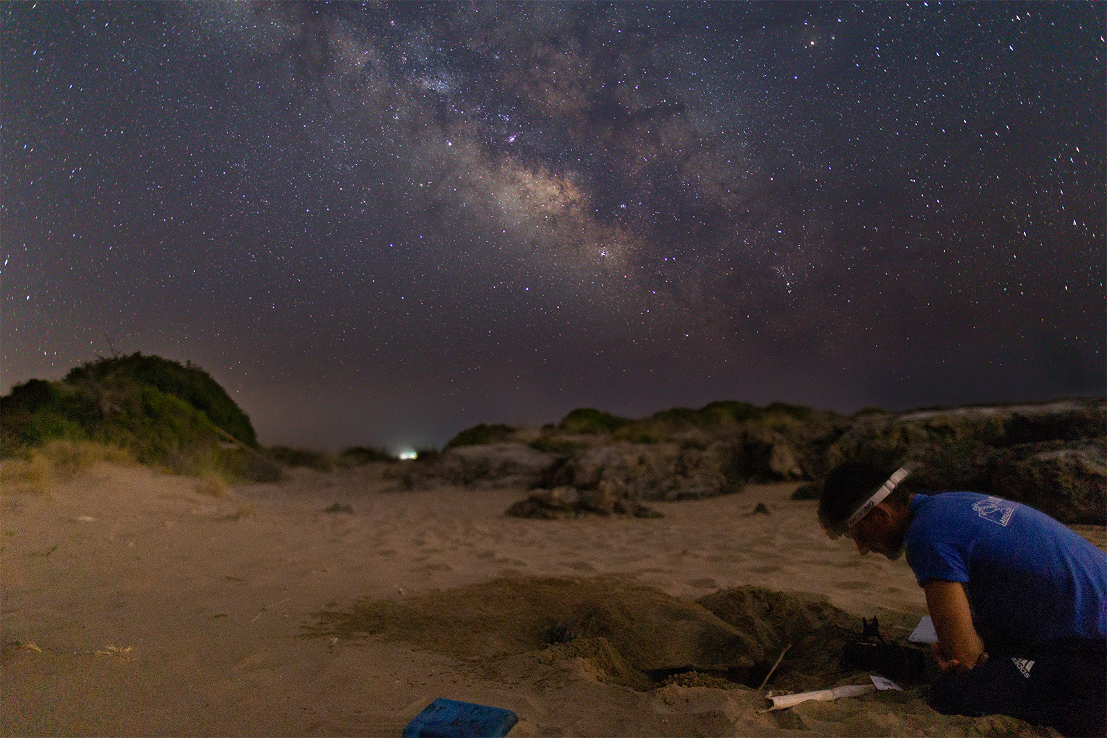 A field researcher in Greece monitors sea turtle nesting activity beneath the light of the Milky Way. Photo taken during ARCHELON night survey. © Kostas Papafitsoros