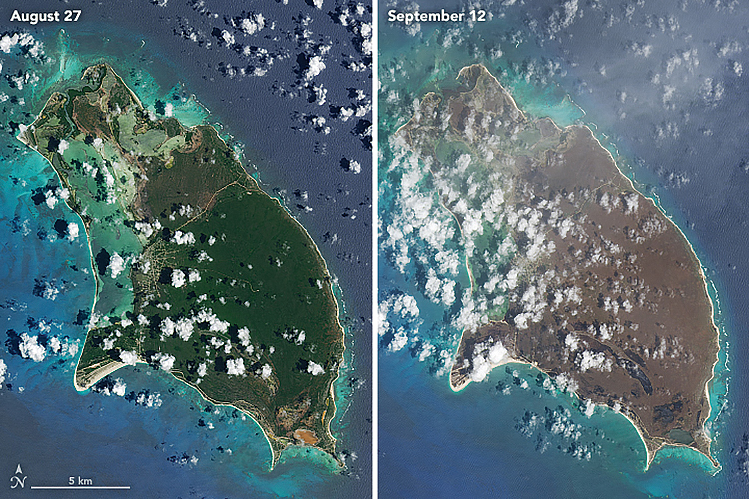 Satellite images reveal the significant impacts on Barbuda of Hurricane Irma, which made landfall on September 6, 2018. © NASA EARTH OBSERVATORY