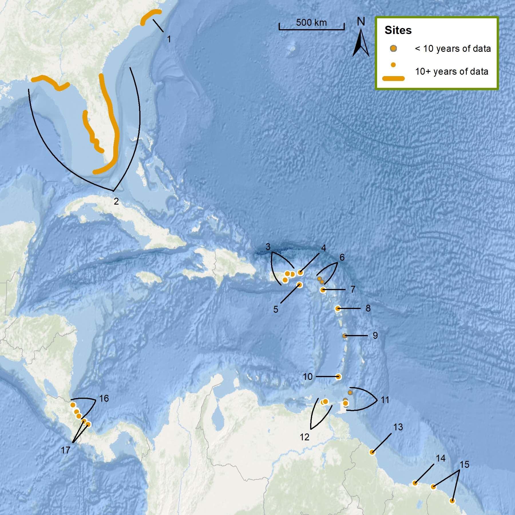 Northwest Atlantic Leatherback Assessment Sites: Assessment locations are (1) North Carolina, U.S.A. (highlighted coastline); (2) Florida, U.S.A. (highlighted coastline); (3) Culebra, Maunabo, and Luqillo-Fajardo, Puerto Rico, U.S.A.; (4) Tortola, BVI; (5) St. Croix, USVI; (6) St. Martin and St. Bathélemy; (7) St. Kitts and Nevis; (8) Guadeloupe; (9) Martinque; (10) Grenada; (11) Matura, Fishing Pond, Grand Riviere, and Tobago; Trinidad and Tobago; (12) Cipara and Querepare, Venezuela; (13) Guyana; (14) Suriname; (15) Awala-Yalimapo and Cayenne, French Guiana; (16) Pacuare, Mondonguillo, Estacion Las Torgugas, Tortuguero, Cahuita, and Gandoca, Costa Rica; (17) Chiriqui and Soropta, Panama.