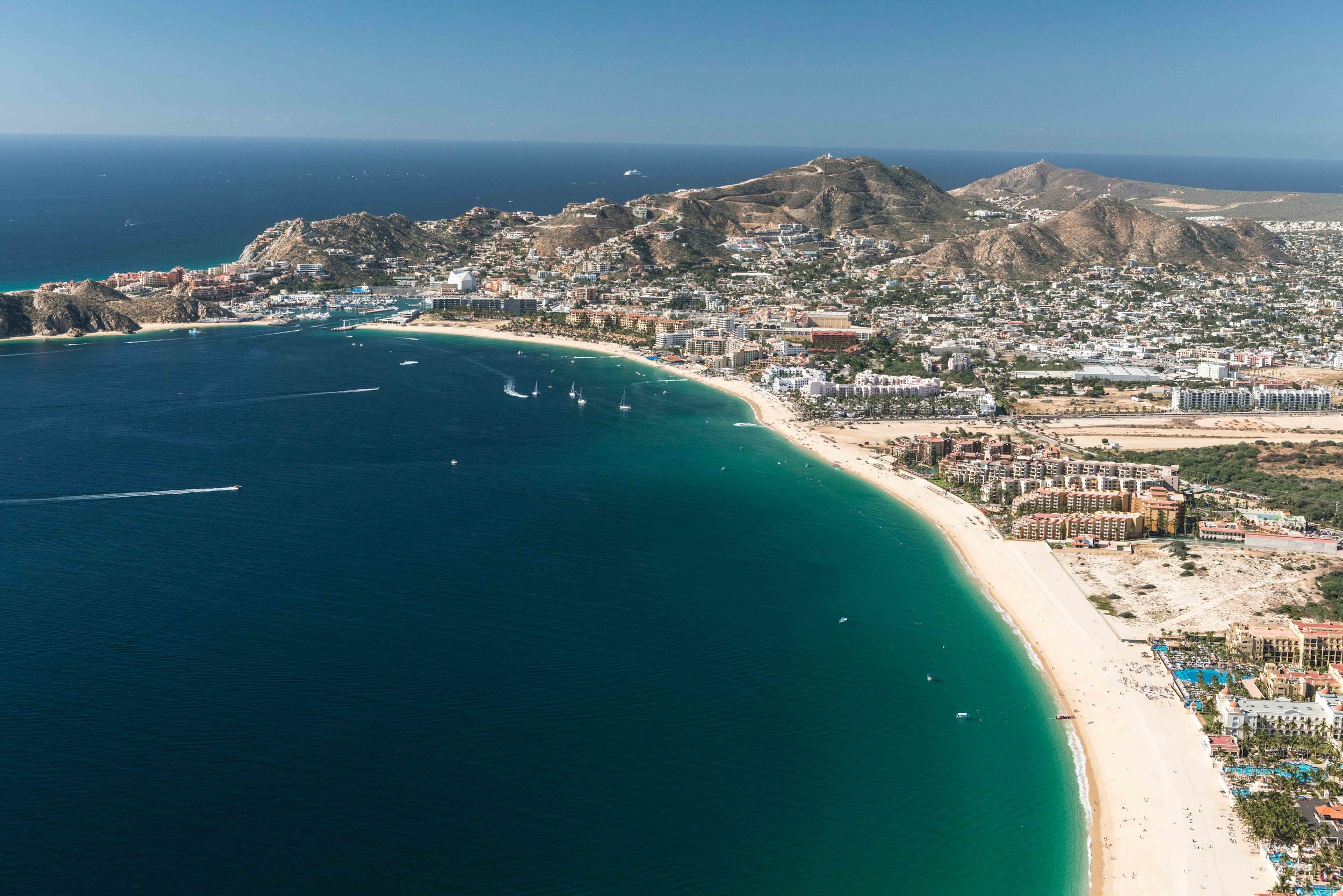 Sprawling beachfront development in Cabo San Lucas, Mexico, leaves little undisturbed habitat for nesting turtles. © Phillip Colla