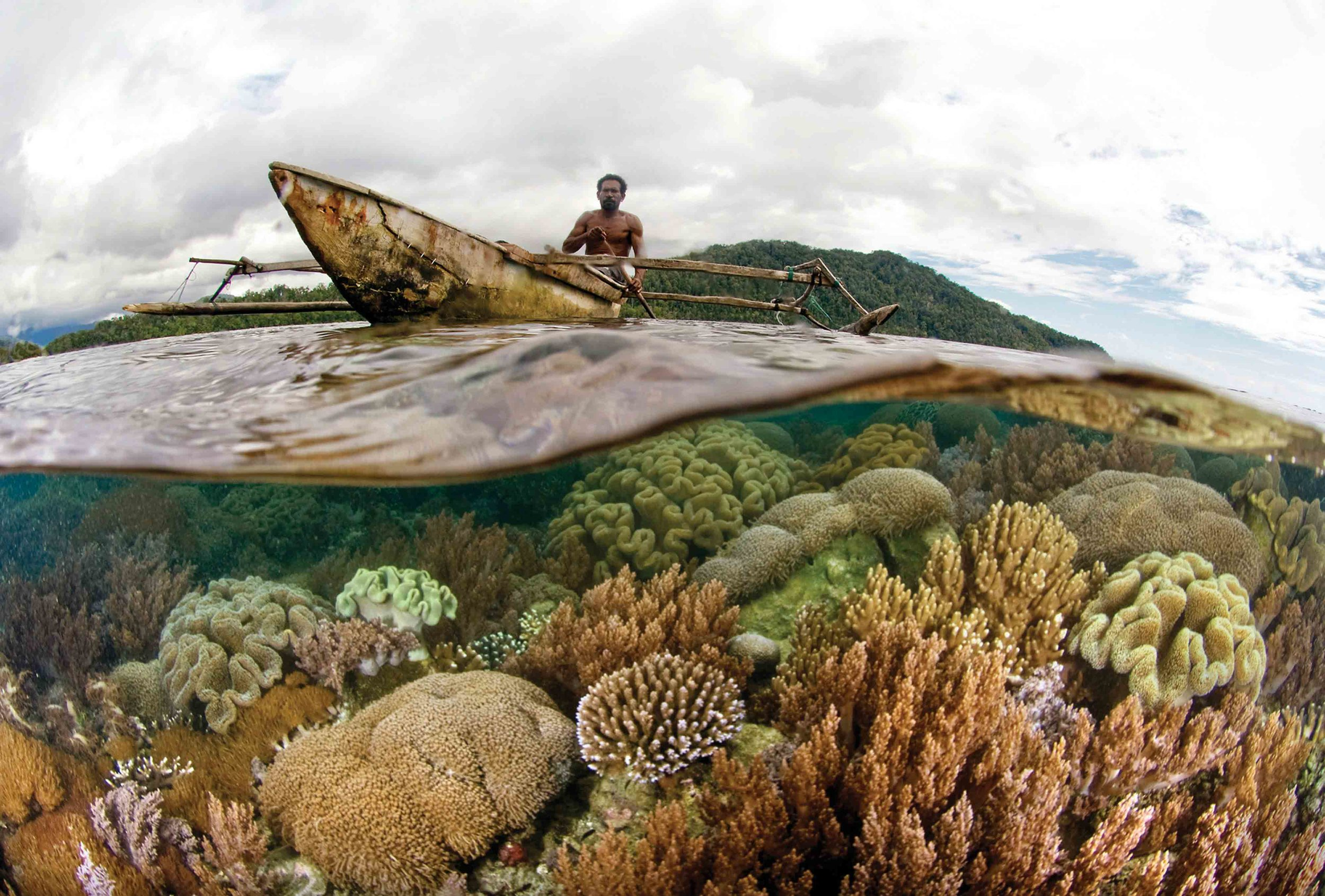 Aware of the importance of reef habitats to their fisheries, local communities in Raja Ampat have begun to patrol their waters against cyanide and blast fishing. This community patrolman keeps watch in his dugout canoe near their island of Batanta, Raja Ampat. © CI/ Sterling Zumbrunn