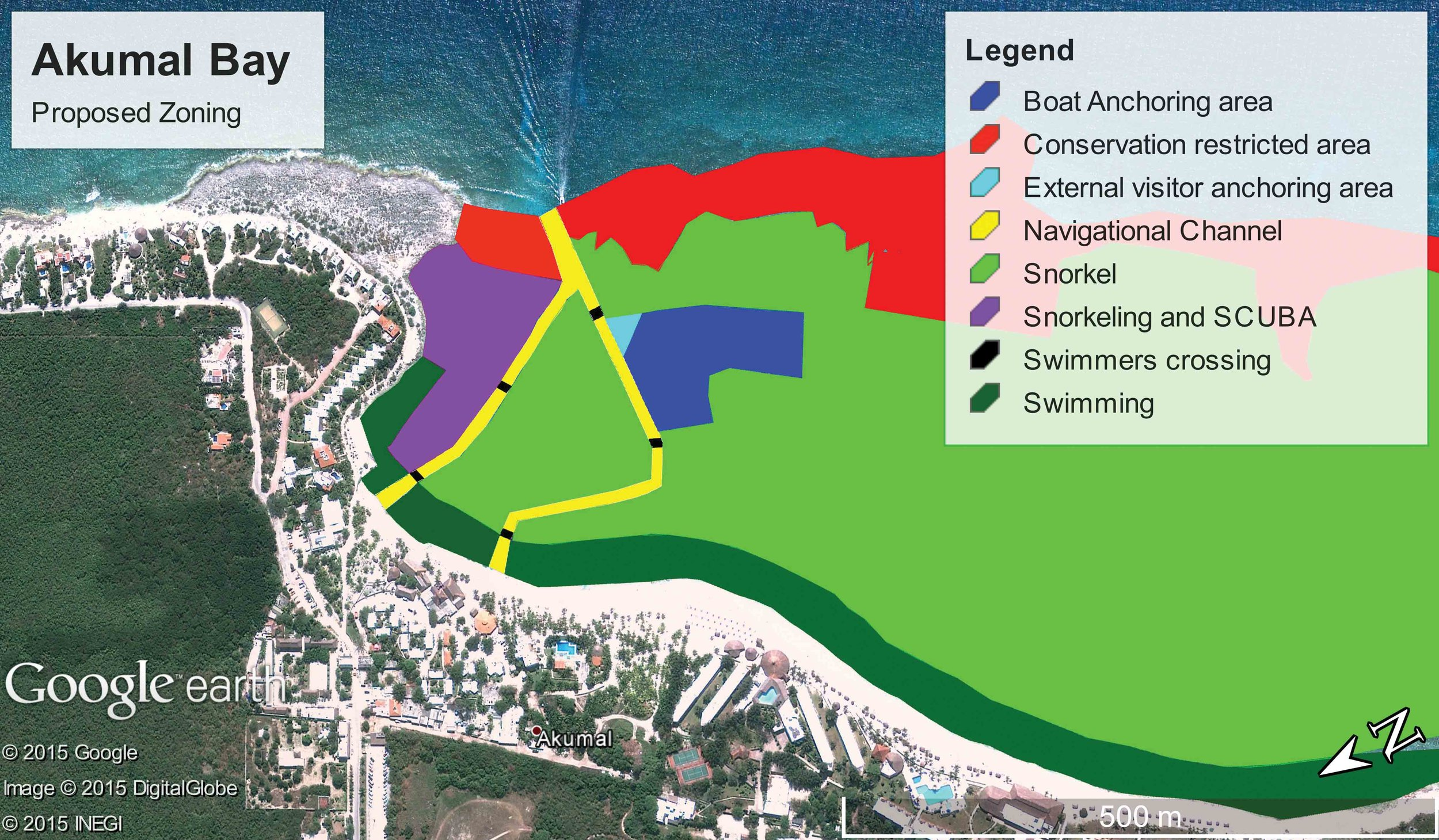 A map of the proposed zoning for Akumal Bay that aims to mitigate tourism's impact on turtles. © AKUMAL DIVE SHOP
