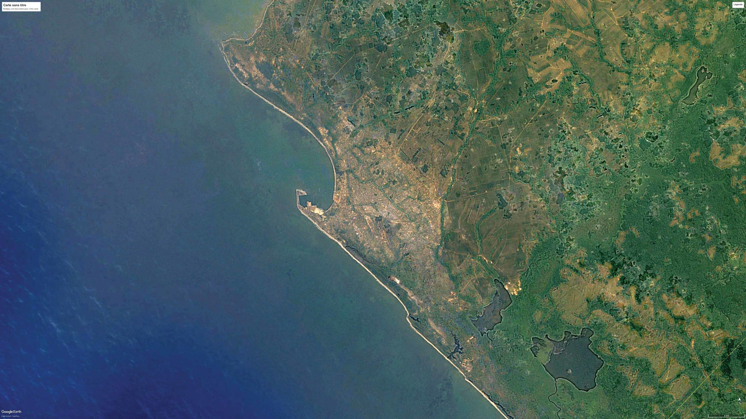 SATELLITE VIEW OF POINTE-NOIRE, REPUBLIC OF THE CONGO, 1990