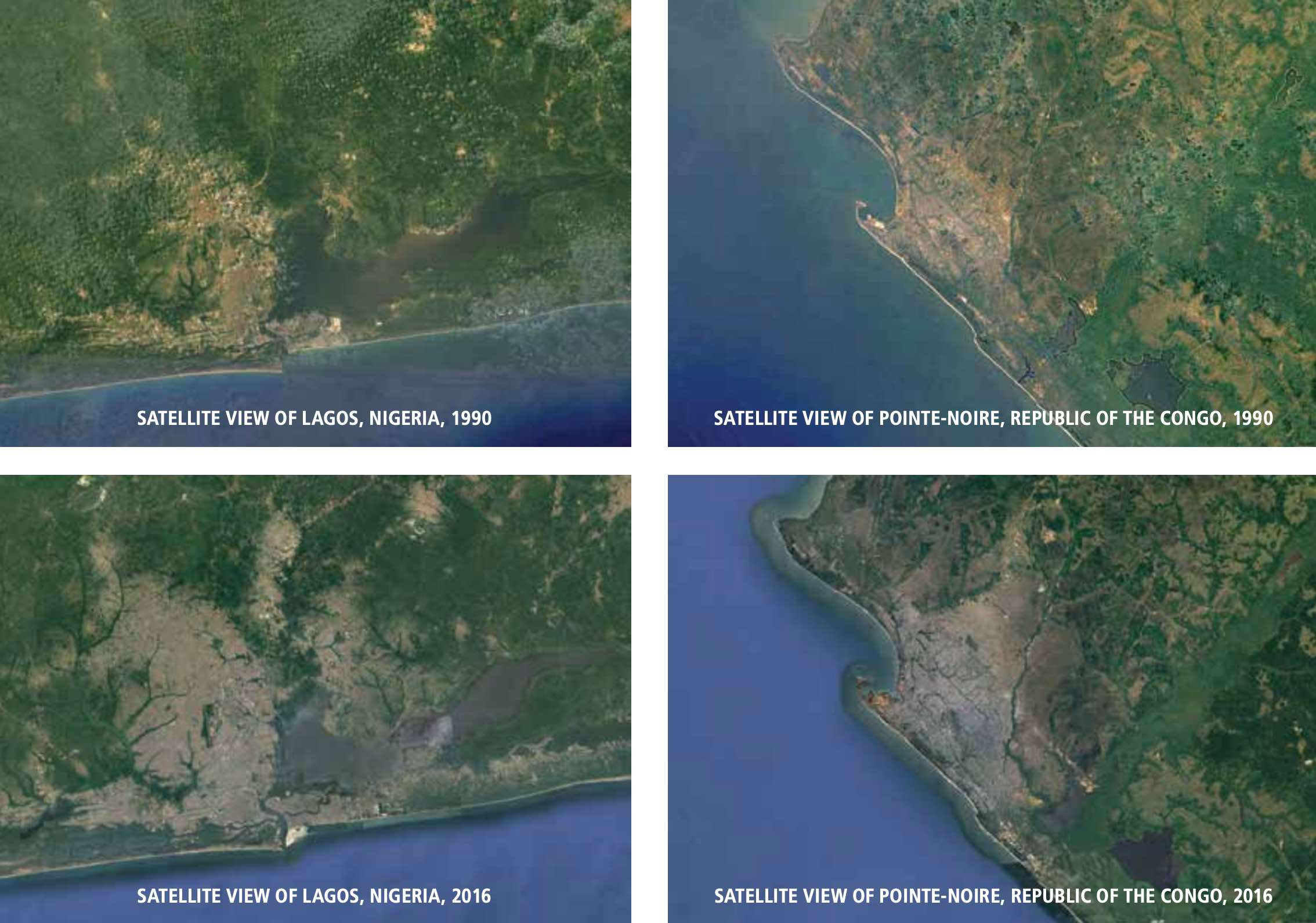 Satellite images show the dramatic growth of the coastal cities of Lagos, Nigeria, and Pointe-Noire, Republic of the Congo, over the past 26 years. The expansion of urban development along West-Central Africa's coast also brings increases in light pollution, vessel traffic, ocean pollution, and other changes that impact turtle habitats. MAP DATA: GOOGLE, IMAGE LANDSET / COPERNICUS, DATA SIO, NOAA, U.S. NAVY, NGA GEBCO, US DEPT OF STATE GEOGRAPHER