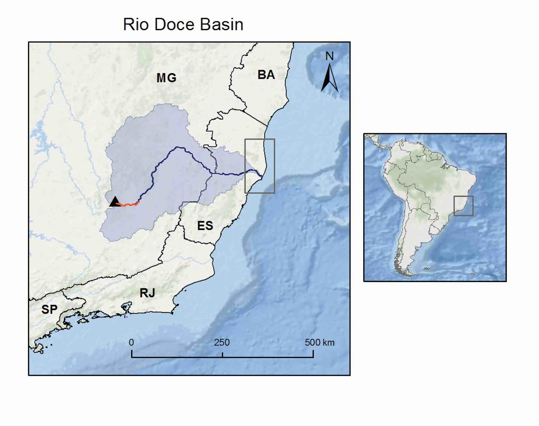 Maps showing the basin of the Rio Doce, the location of the Fundão Dam, the pathway of waste from the dam to the sea, and the density of sea turtle nesting near the mouth of the Rio Doce. © CENTRO TAMAR-ICMBIO