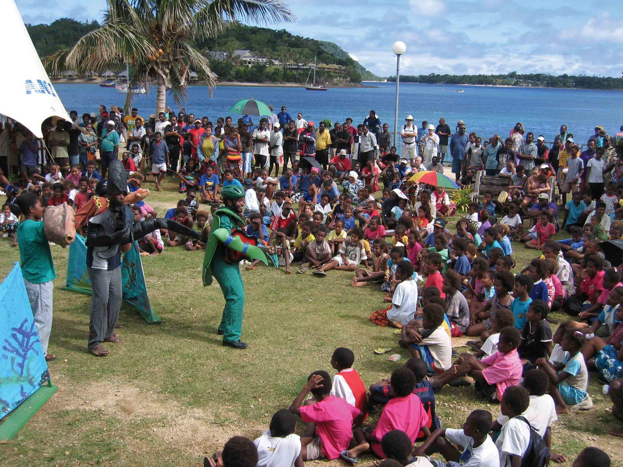 Villagers in Tanoliu, Vanuatu, celebrate the launch of Wan Smolbag's new sea turtle education project. © WAN SMOLBAG