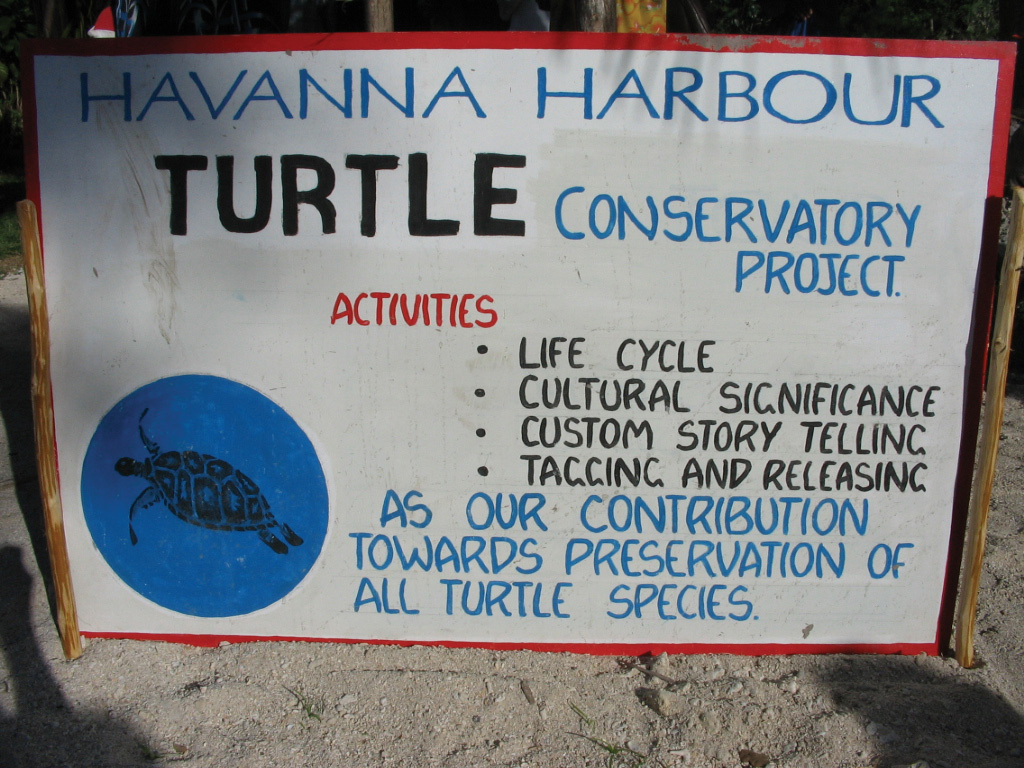 Educational signs help tourists and local community members understand the importance of sea turtle conservation. © WAN SMOLBAG