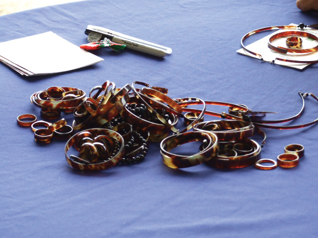 In November 2007 Didiher Chacón of WIDECAST led an investigation and confiscation of illegal tortoiseshell items sold by vendors in Puntarenas, Costa Rica. Among the items confiscated were these pieces of jewelry. © WIDECAST