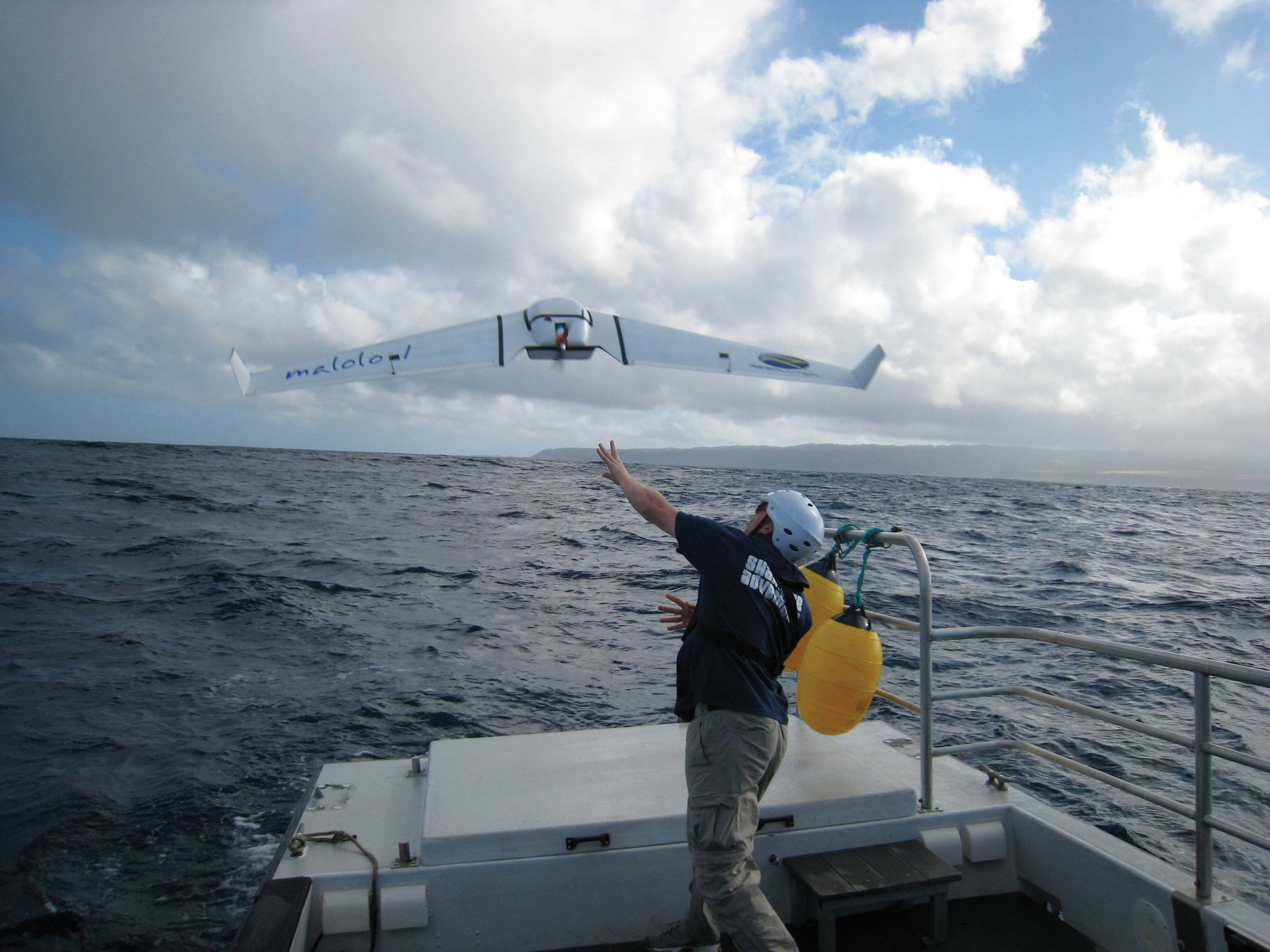 A prototype for an Unmanned Aircraft System, meant to aid in the detection of marine debris in the open ocean, is tested aboard a National Oceanic and Atmospheric Administration vessel. © NOAA
